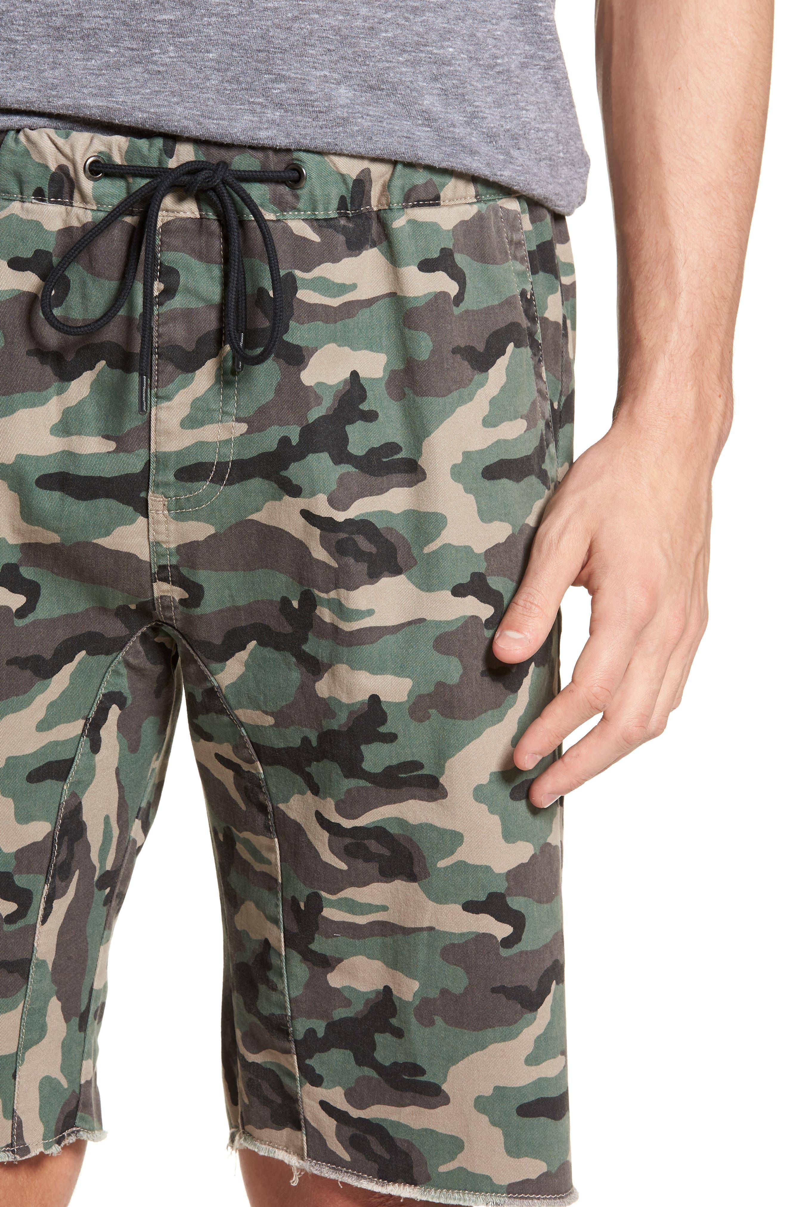 Camo Print Cutoff Twill Shorts,                             Alternate thumbnail 4, color,                             Brown Green Camo