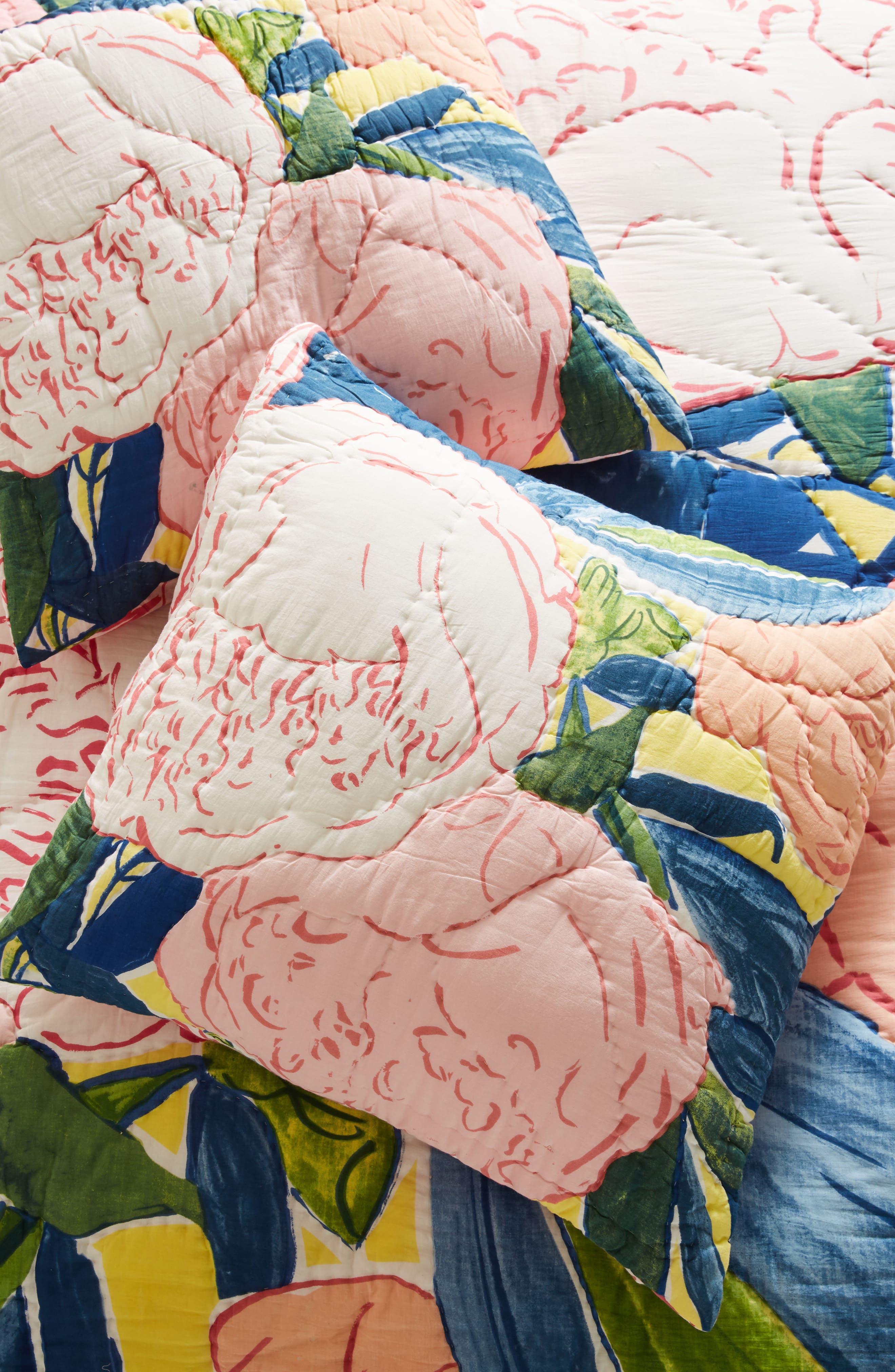 Paint + Petals Euro Sham,                             Main thumbnail 1, color,                             Yellow