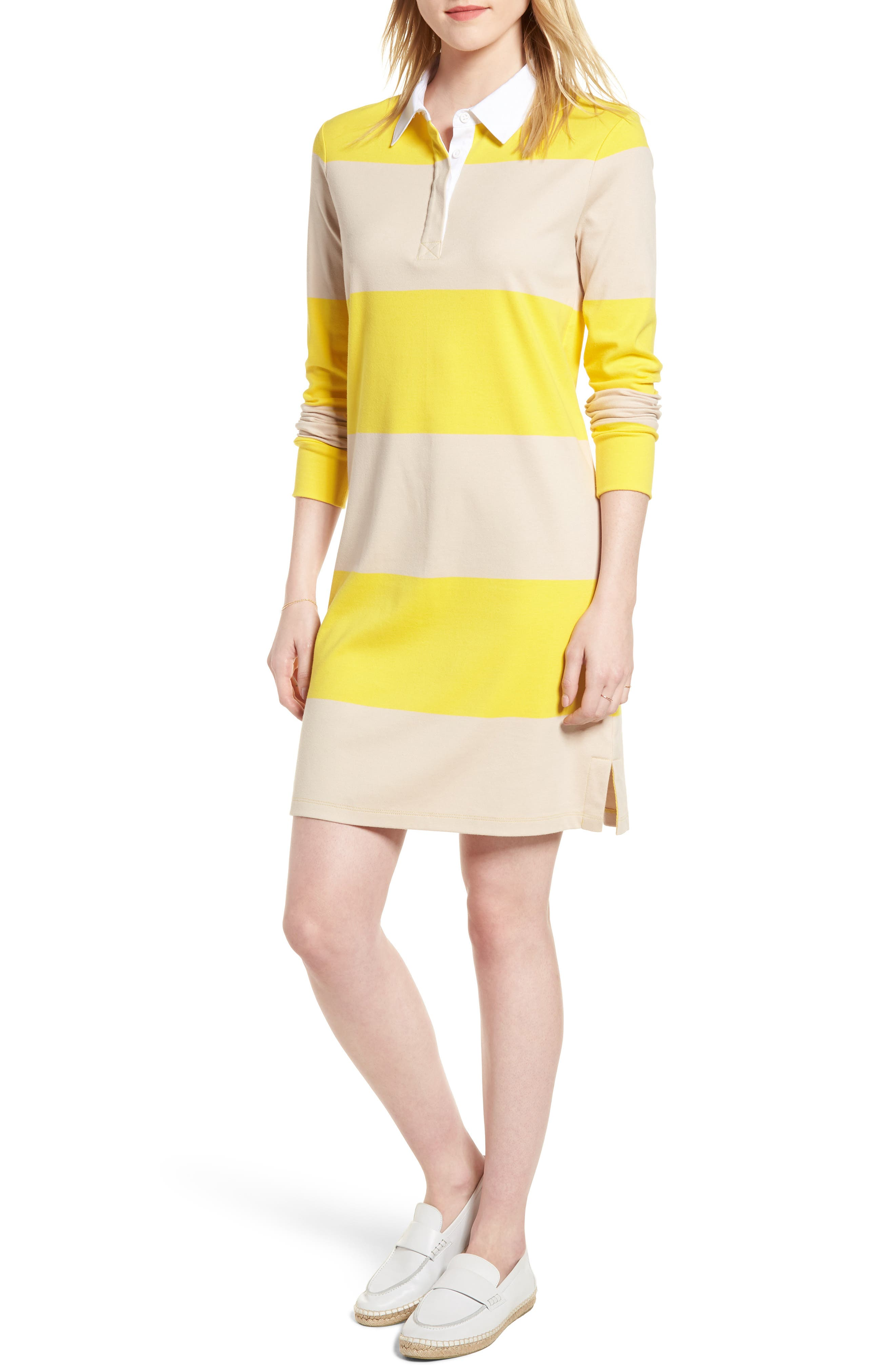 Cotton Rugby Dress,                             Main thumbnail 1, color,                             Yellow- Beige Stripe