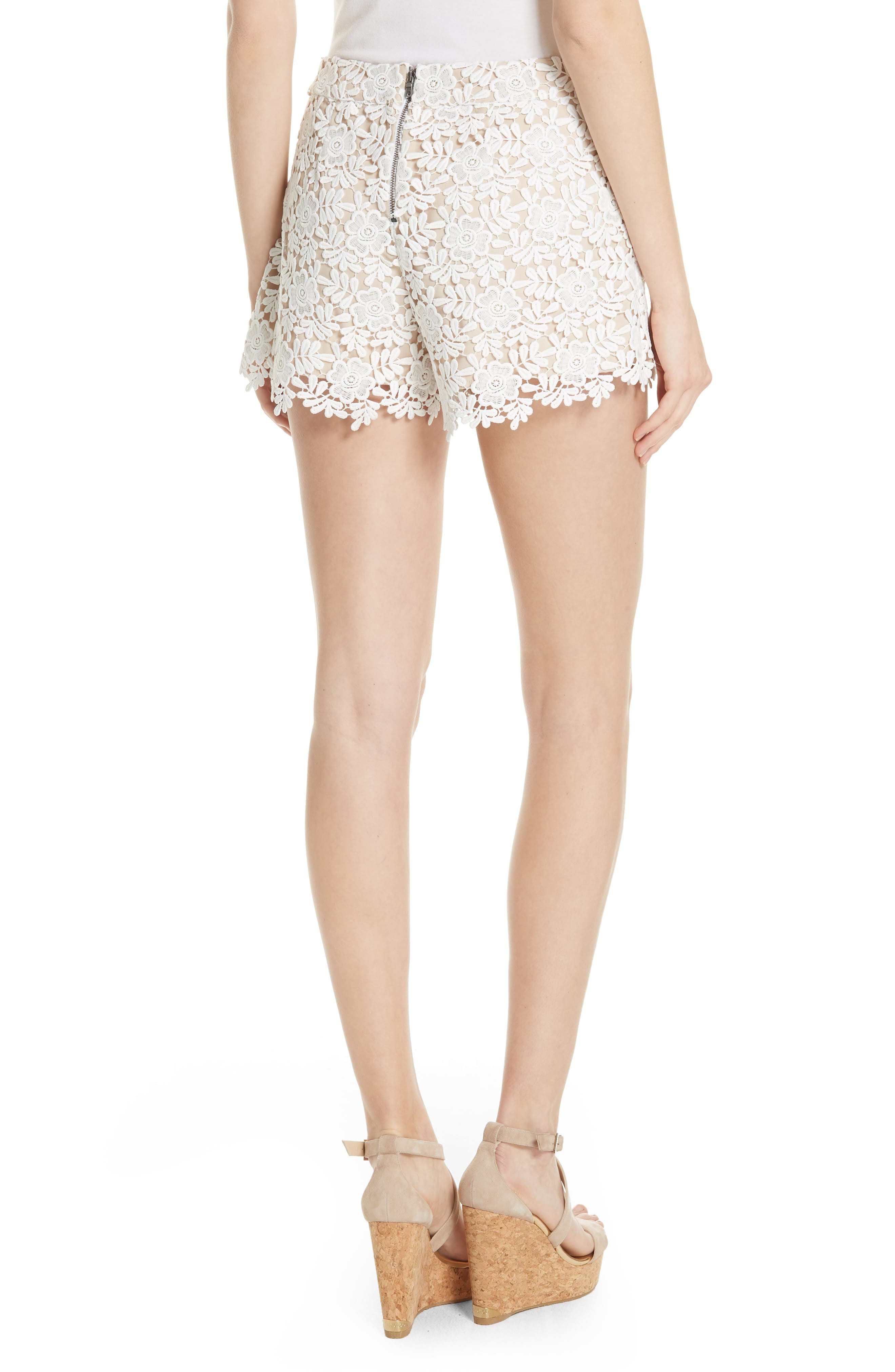 Marisa Floral Lace Shorts,                             Alternate thumbnail 2, color,                             Off White/ Sesame