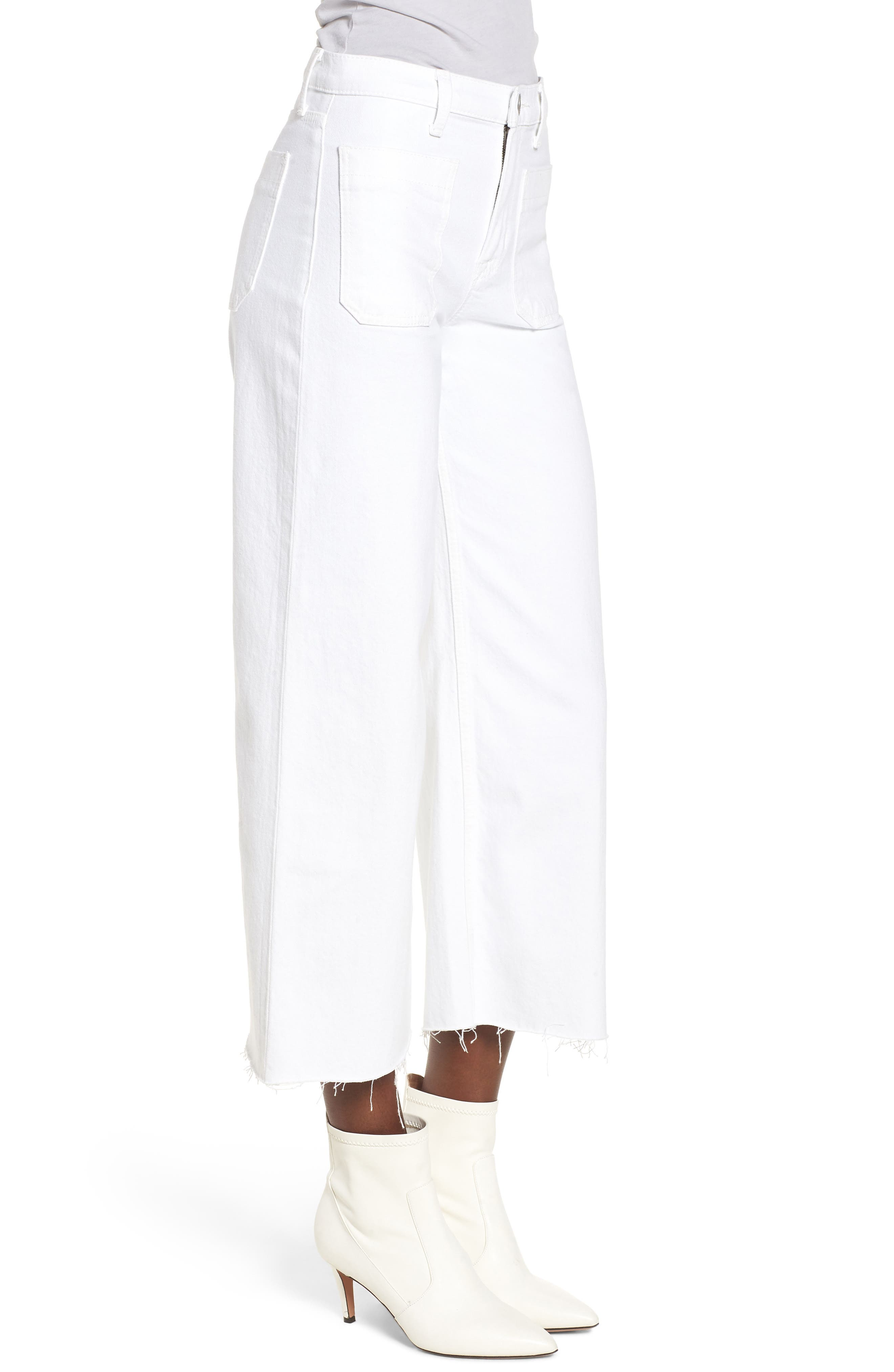 Holly High Waist Raw Hem Crop Wide Leg Jeans,                             Alternate thumbnail 3, color,                             White