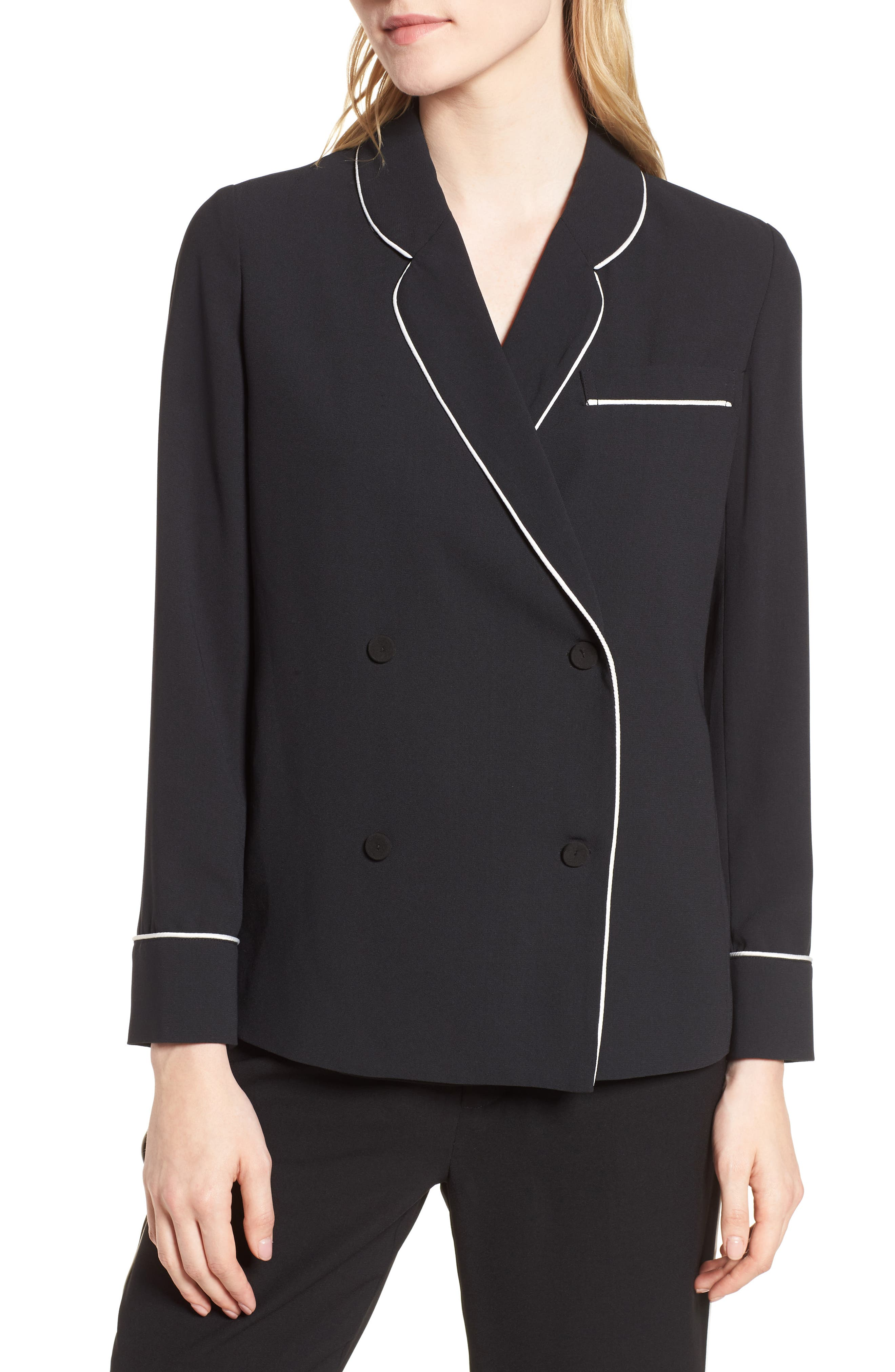 Double Breasted Jacket,                             Alternate thumbnail 4, color,                             Black/ Bright White Piping