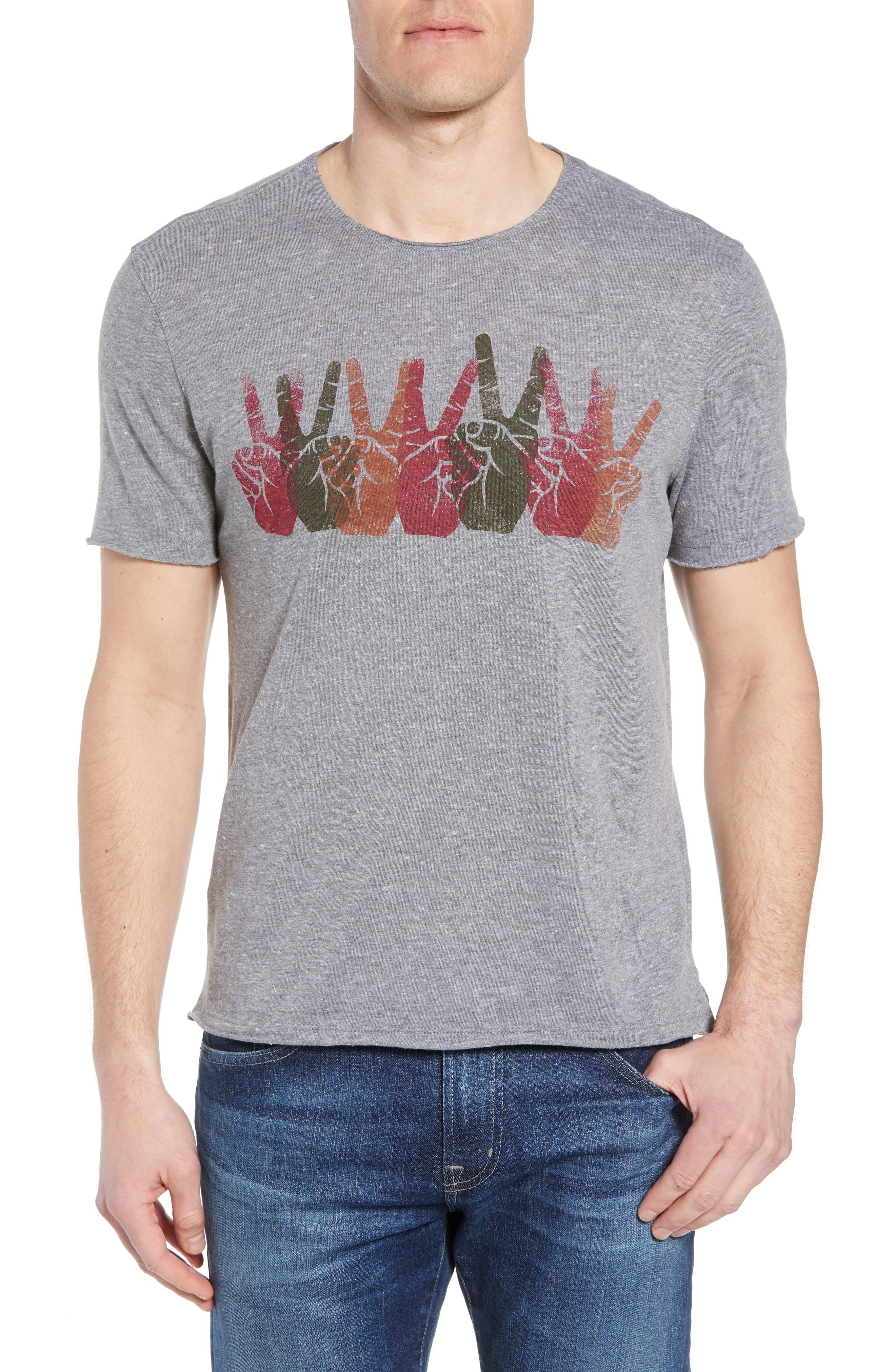 Peace Sign Crewneck T-Shirt,                         Main,                         color, Hematite