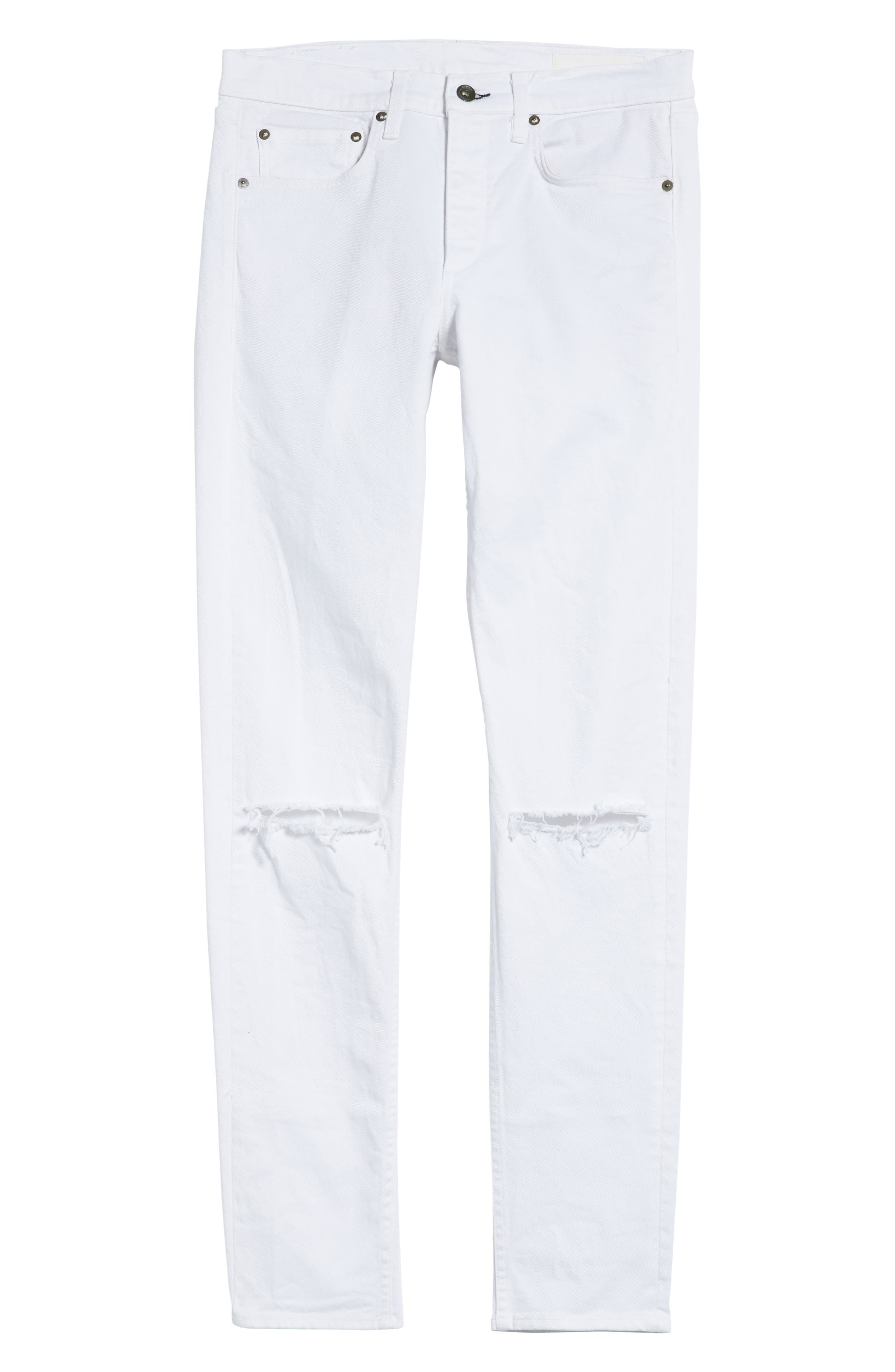Fit 1 Skinny Fit Jeans,                             Alternate thumbnail 6, color,                             White W/ Holes