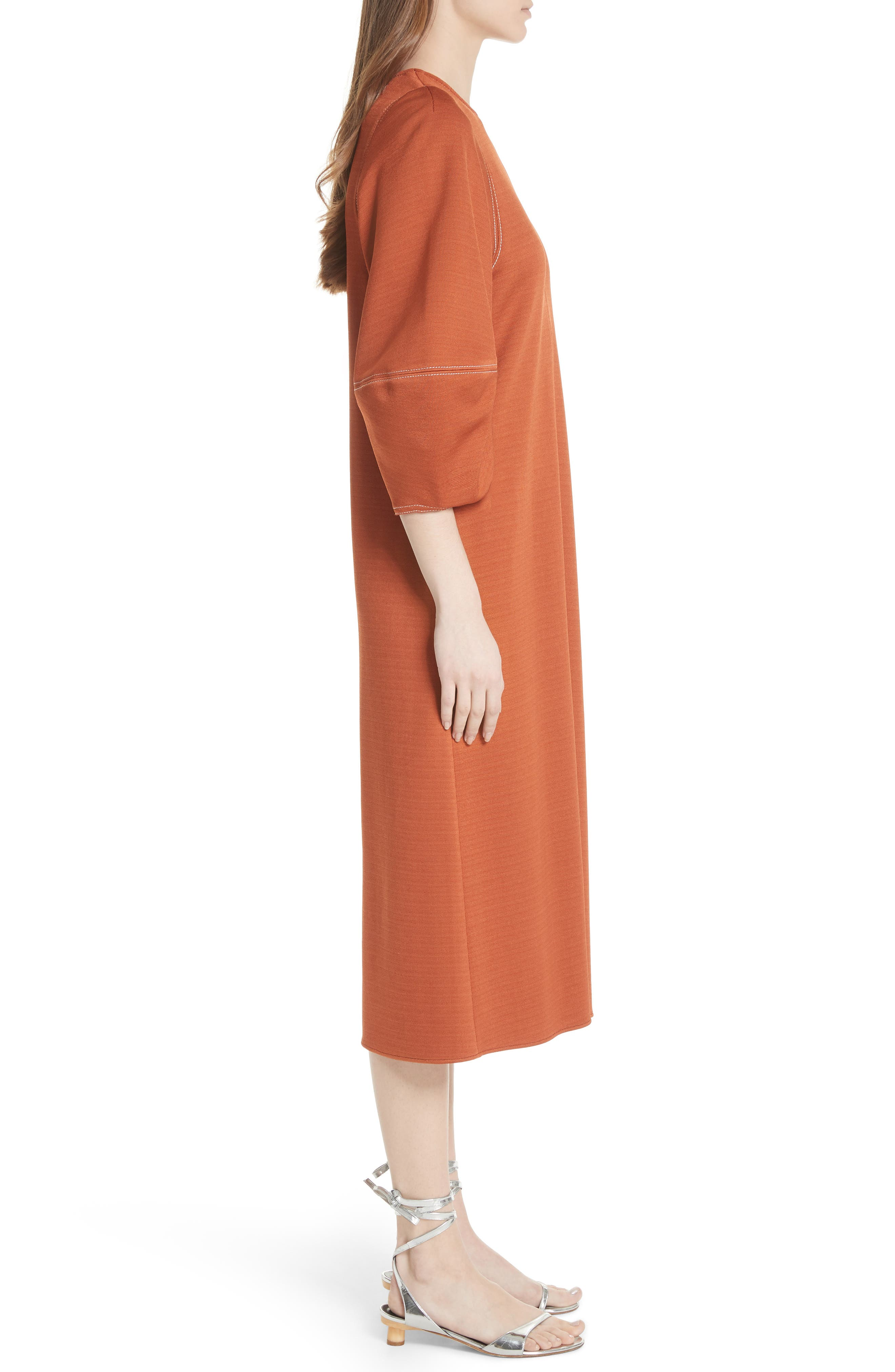Balloon Sleeve Crepe Knit Midi Dress,                             Alternate thumbnail 3, color,                             Rust
