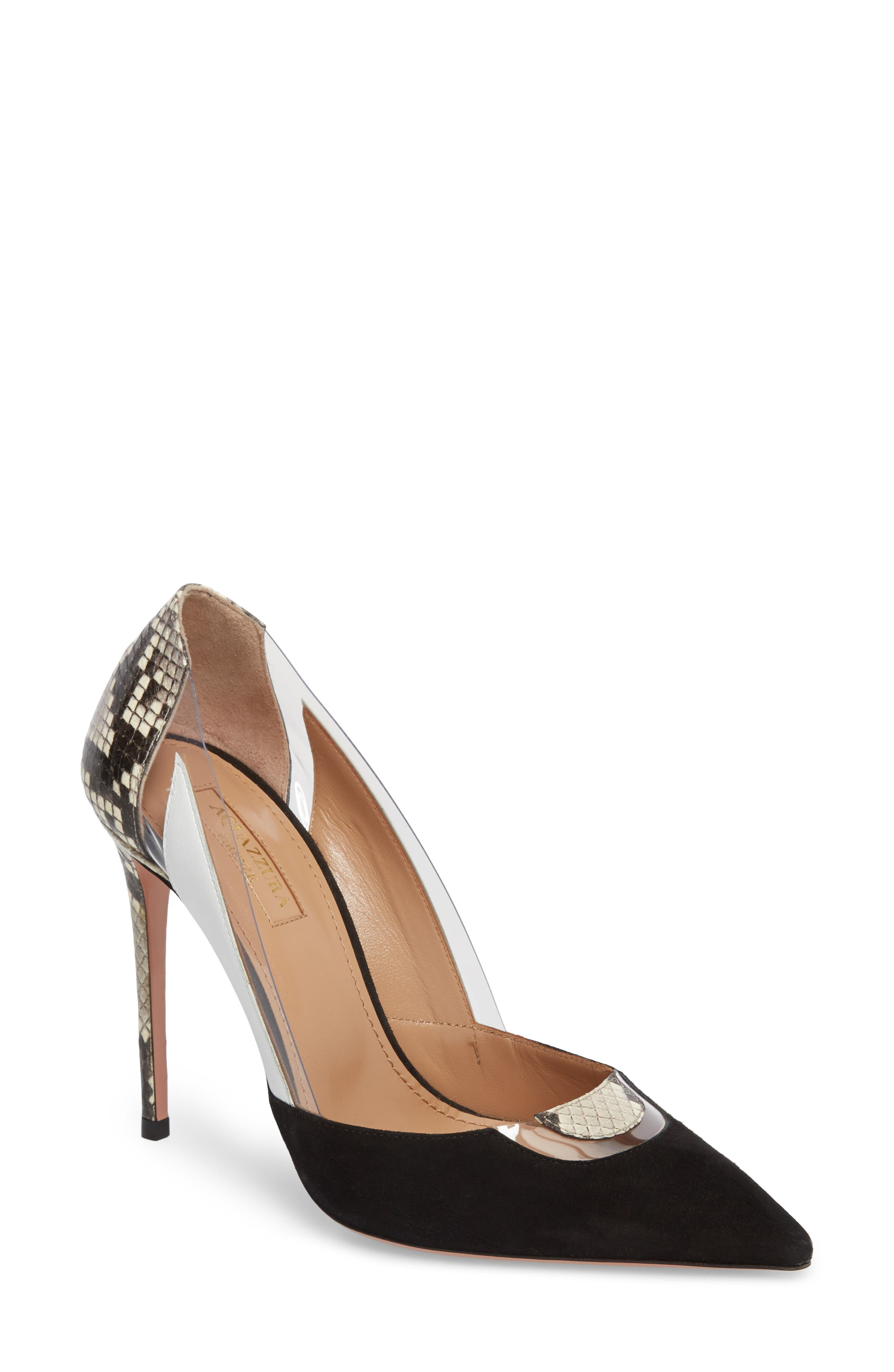 Aquazurra Fearless Genuine Snakeskin Pointy Toe Pump,                             Main thumbnail 1, color,                             Black/ Snakeprint