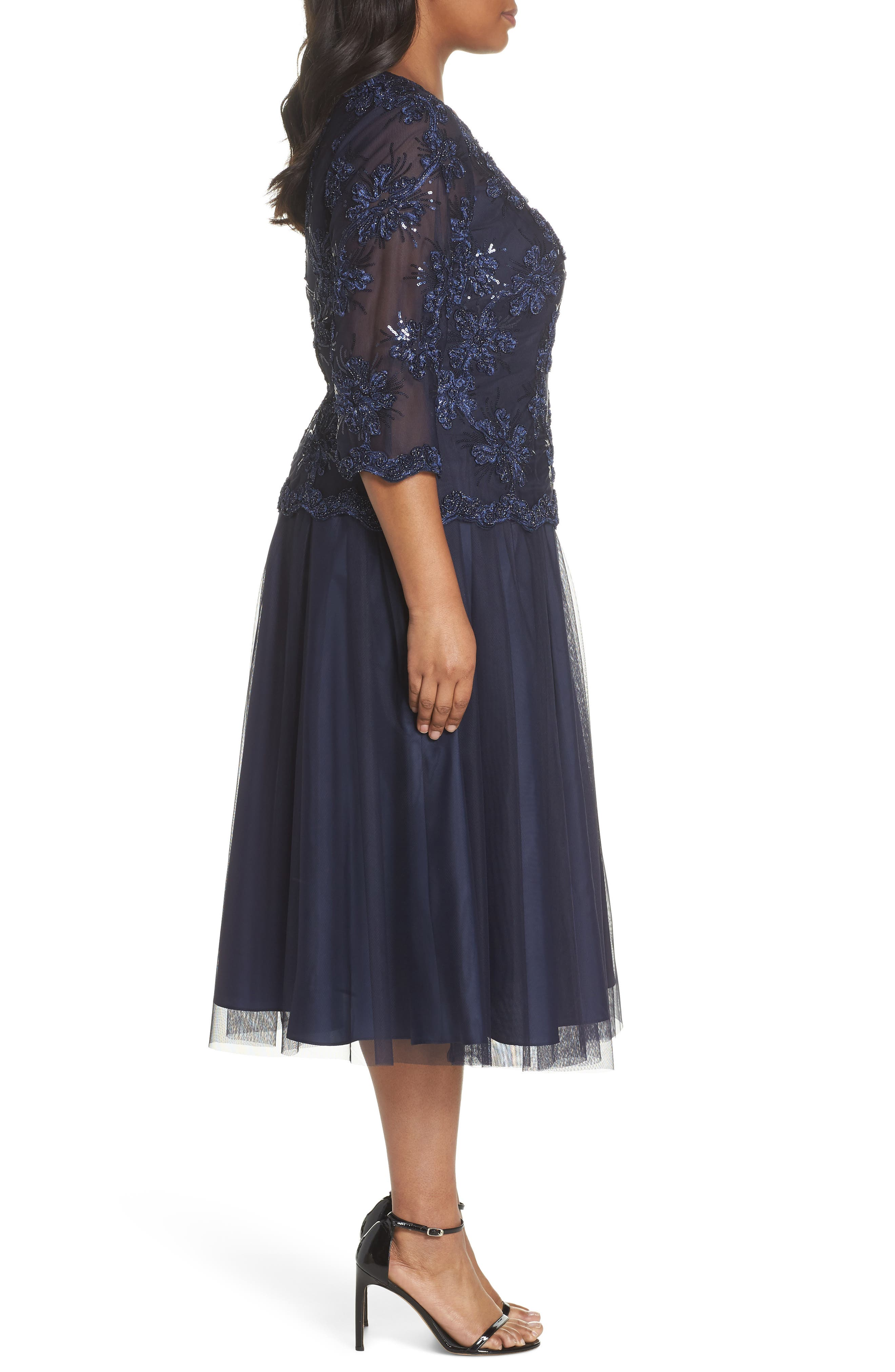 Embellished Bodice Tea Length Mesh Dress,                             Alternate thumbnail 3, color,                             Navy