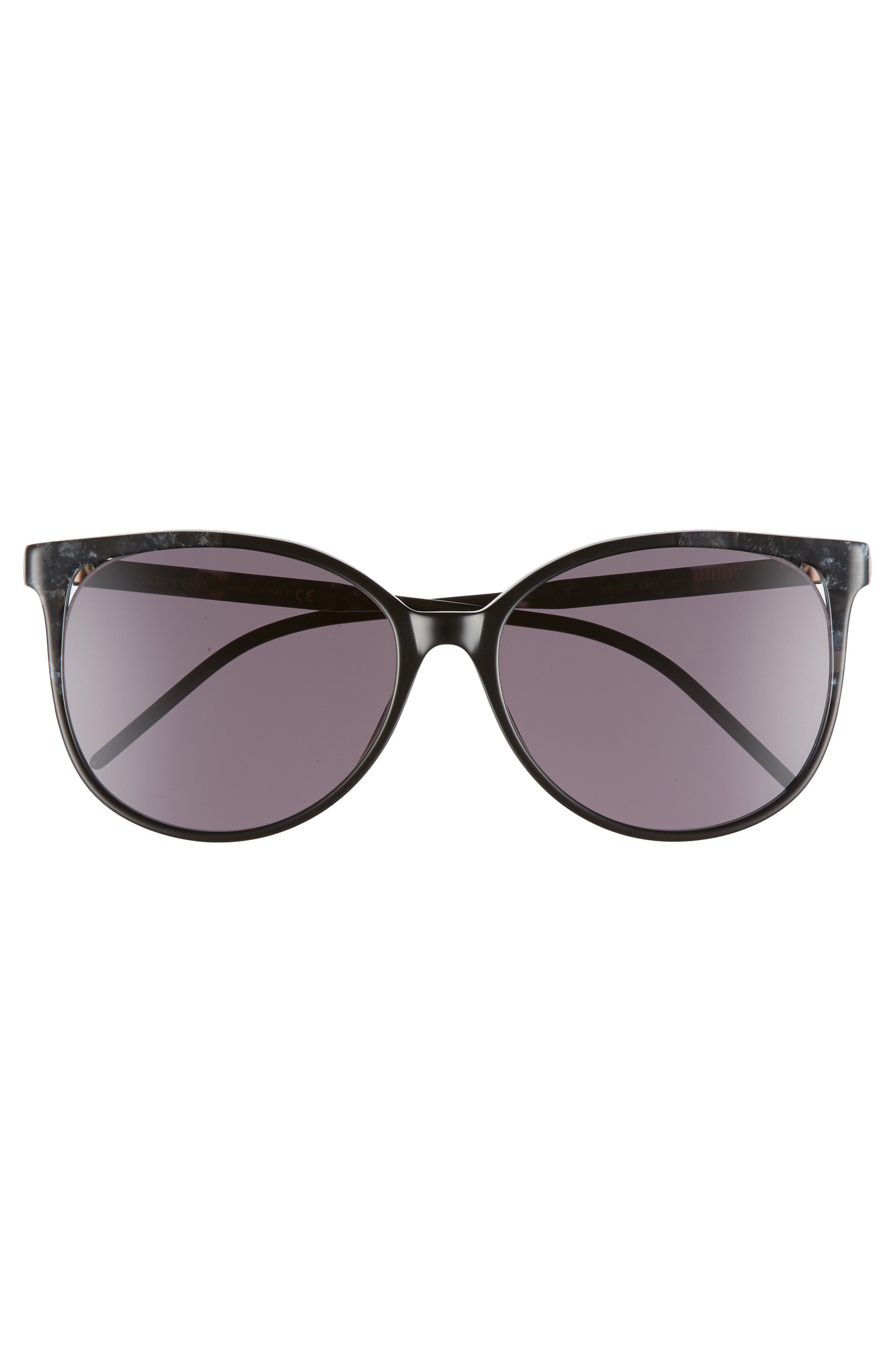 59mm Round Sunglasses,                             Alternate thumbnail 3, color,                             Black/Brown