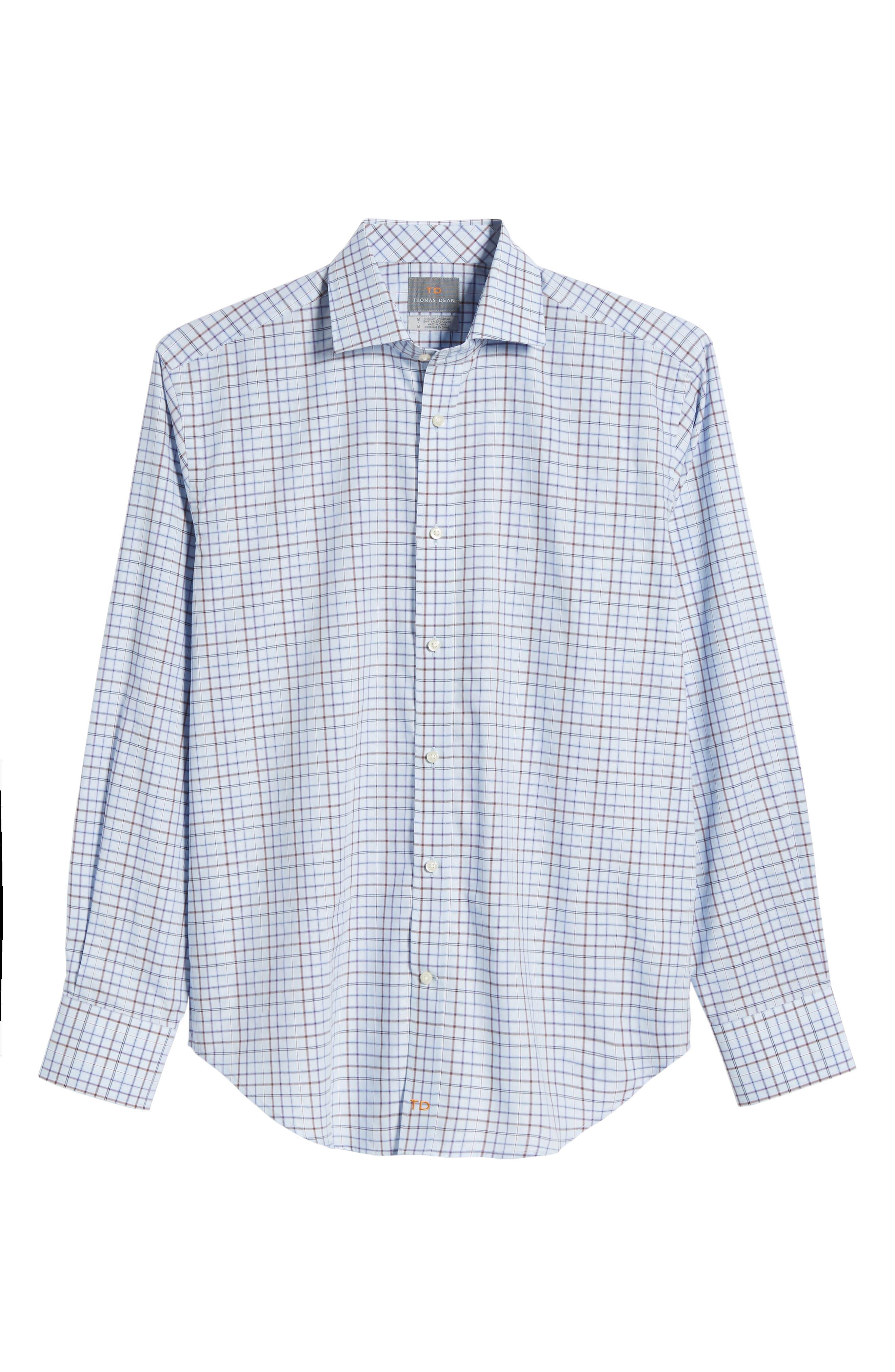 Regular Fit Windowpane Sport Shirt,                             Alternate thumbnail 6, color,                             Purple