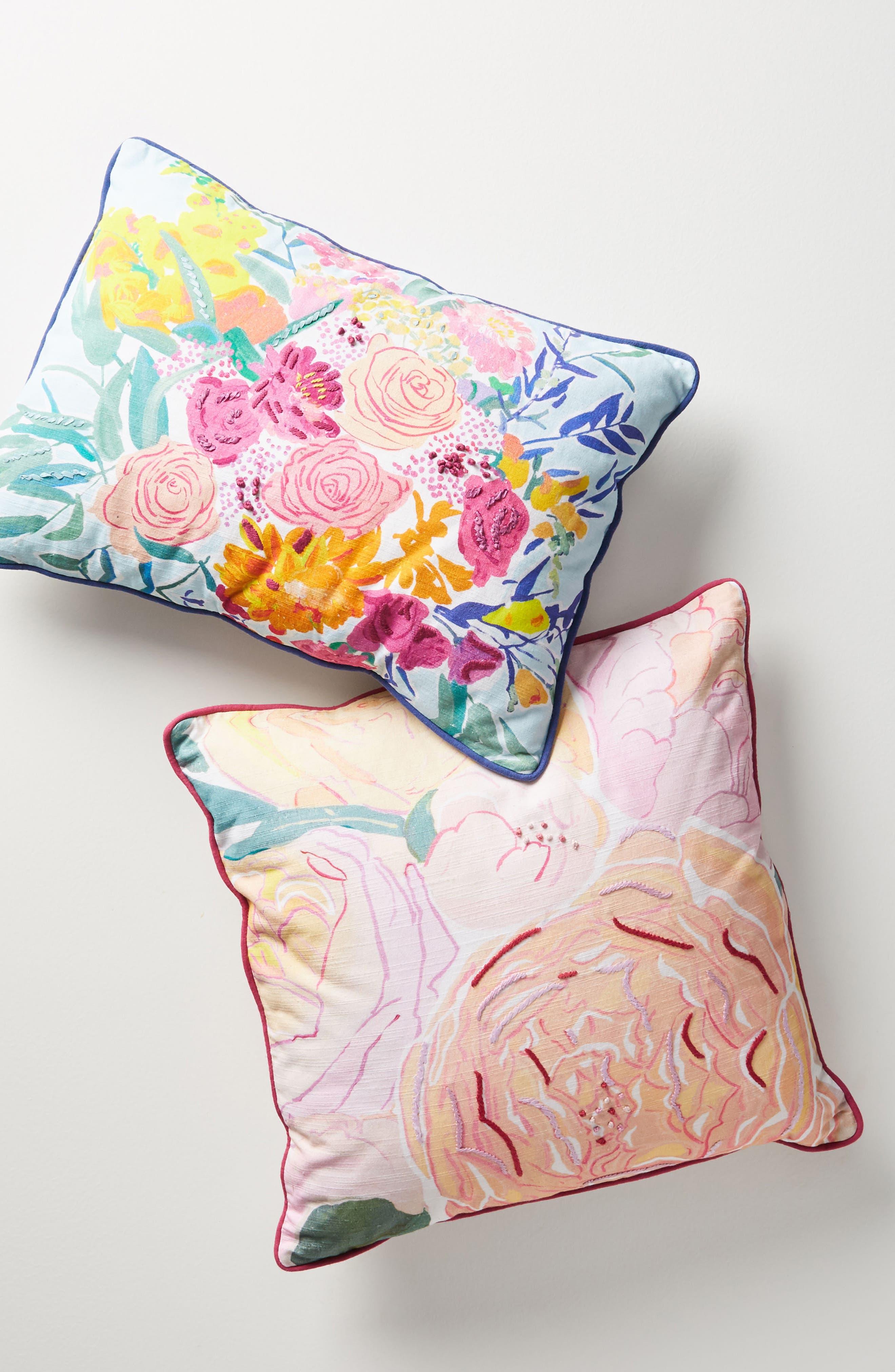 Paint + Petals Accent Pillow,                             Alternate thumbnail 4, color,                             Pink