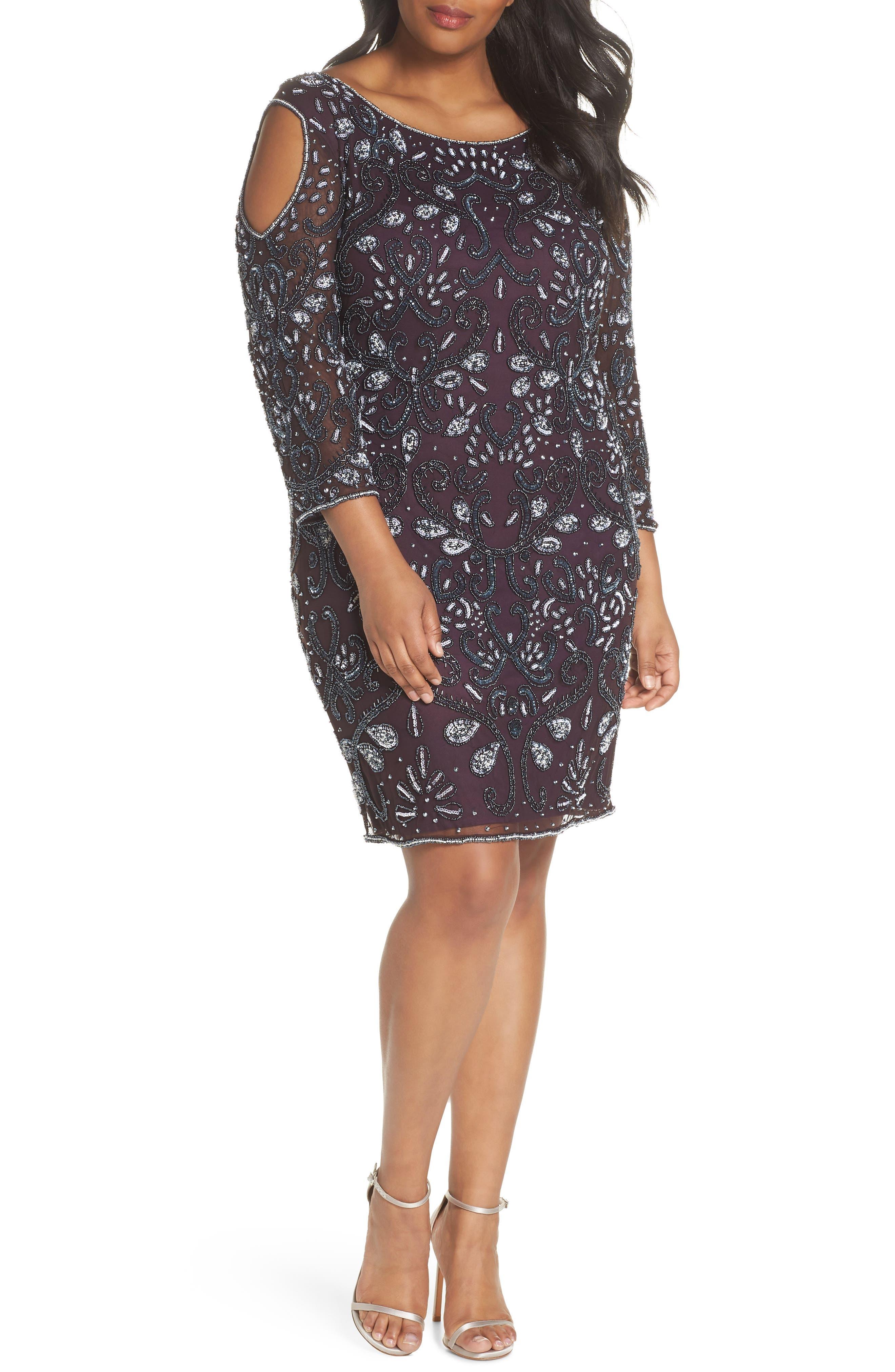 Embellished Cold Shoulder Dress,                             Main thumbnail 1, color,                             Eggplant