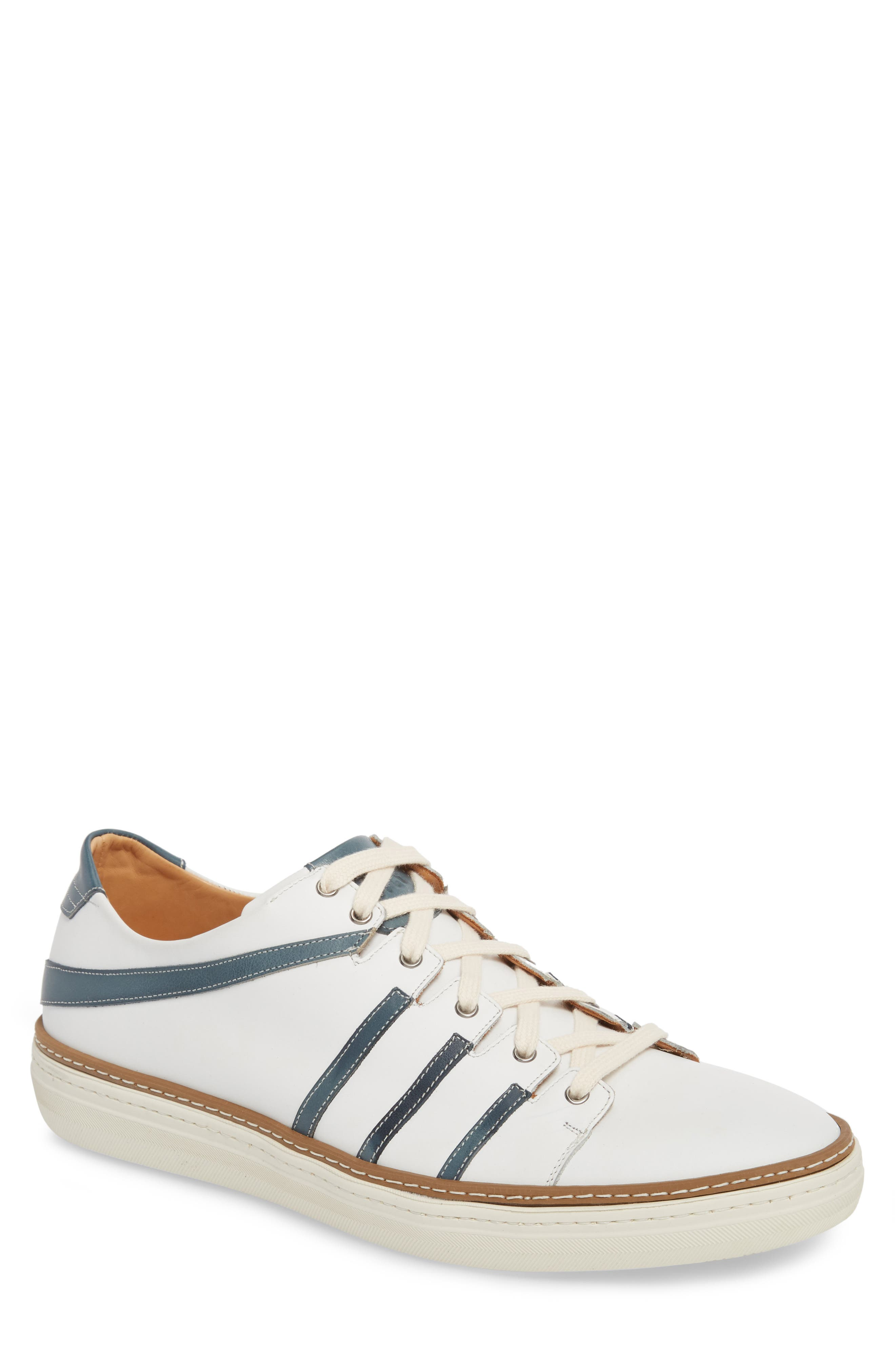 Tebas Striped Low Top Sneaker,                         Main,                         color, White/ Jeans Leather