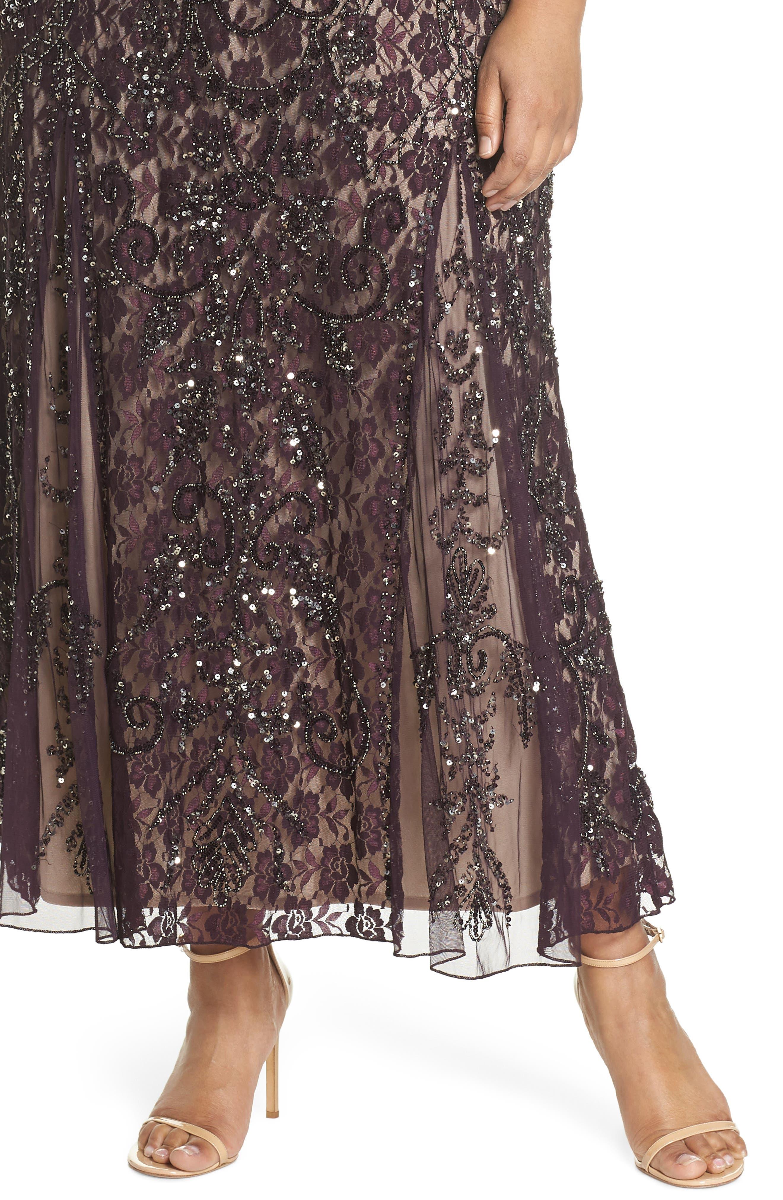 Embellished Lace A-Line Dress,                             Alternate thumbnail 4, color,                             Plum