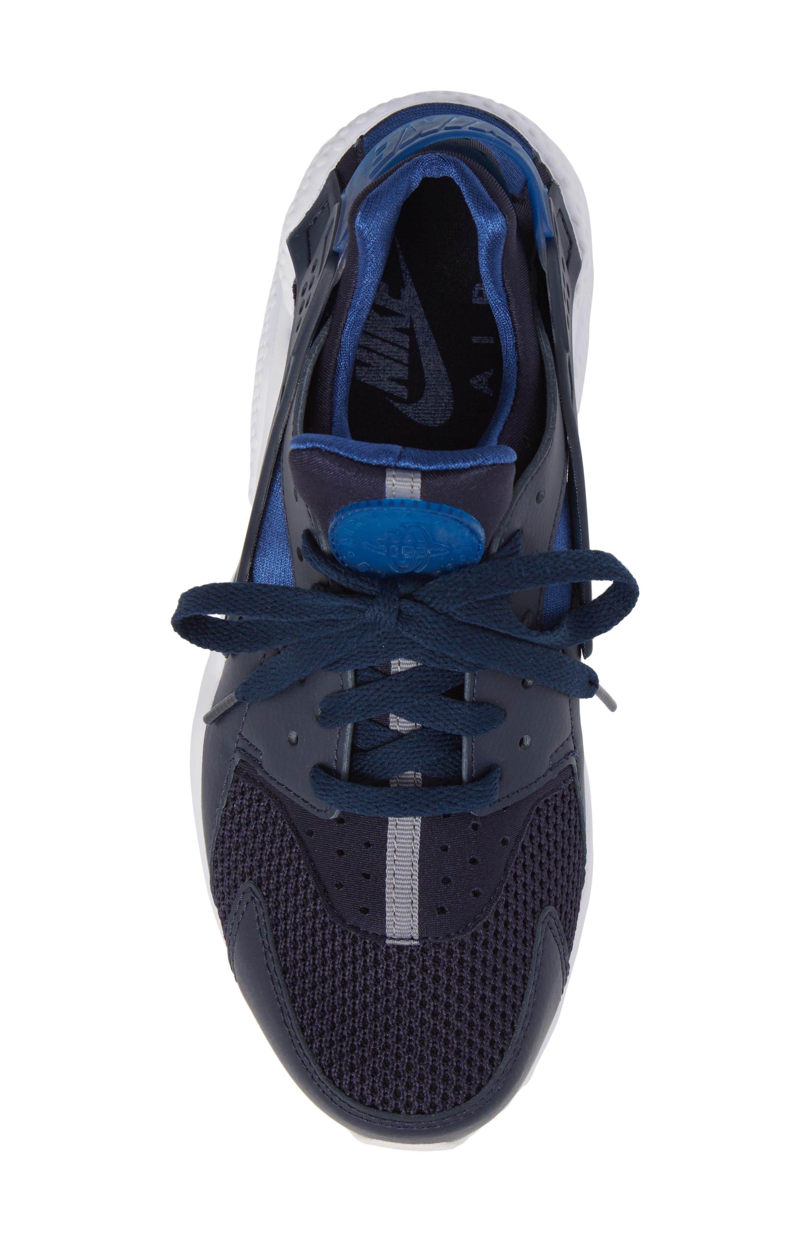 'Air Huarache' Sneaker,                             Alternate thumbnail 4, color,                             Obsidian/ Gym Blue
