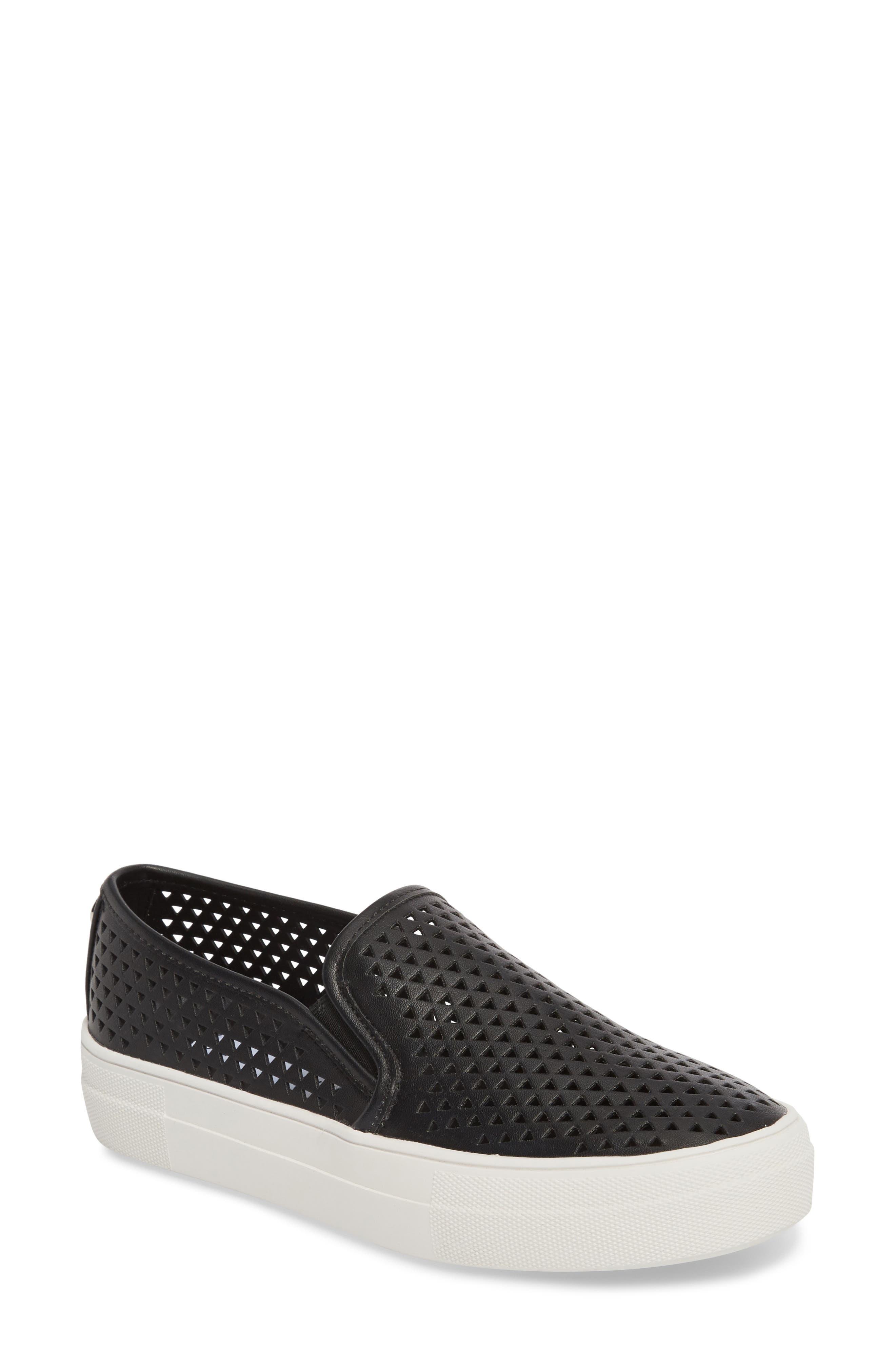 Gal-P Perforated Slip-On Sneaker,                             Main thumbnail 1, color,                             Black