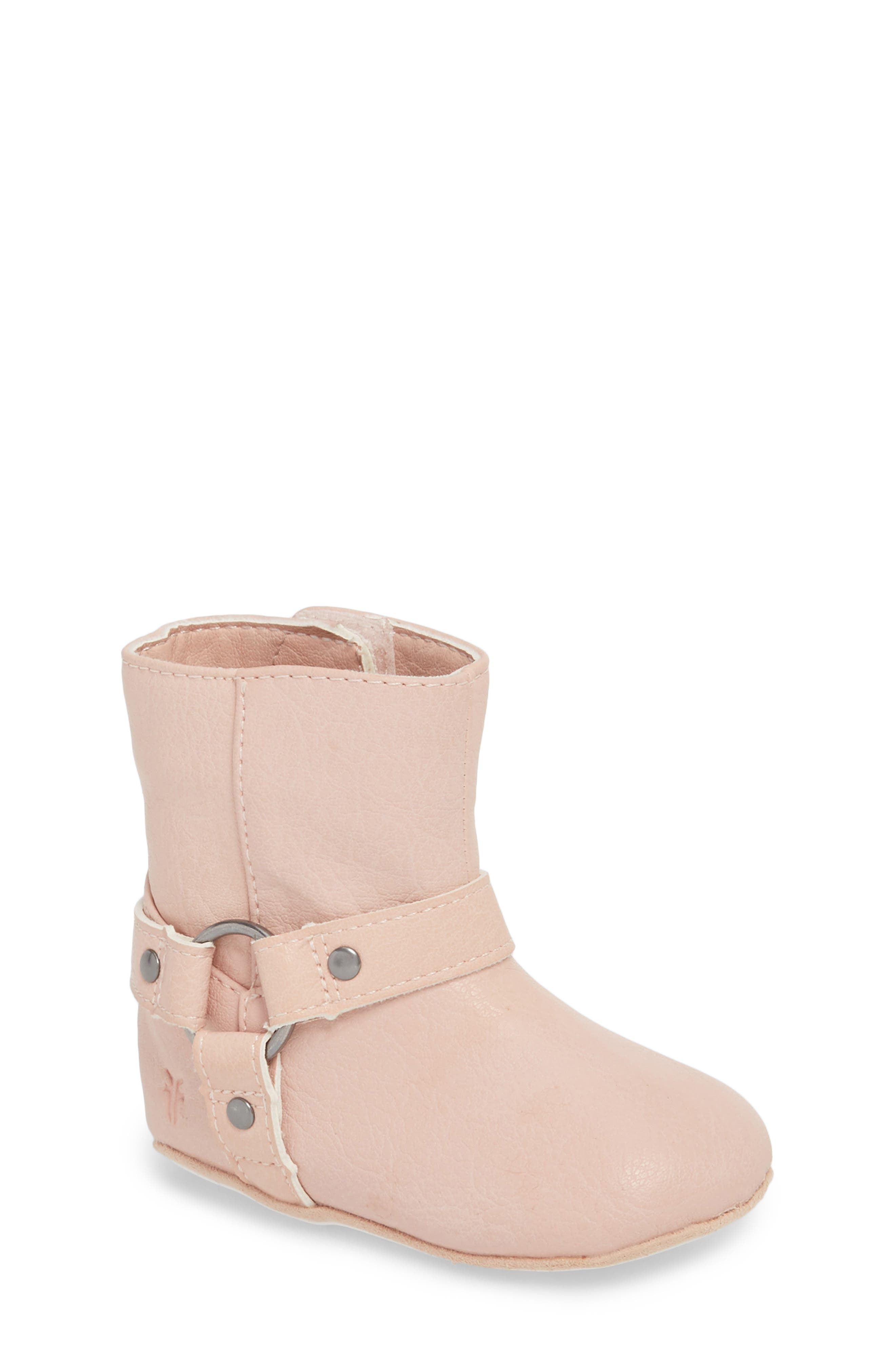 Harness Boot Crib Shoe,                         Main,                         color, Baby Pink