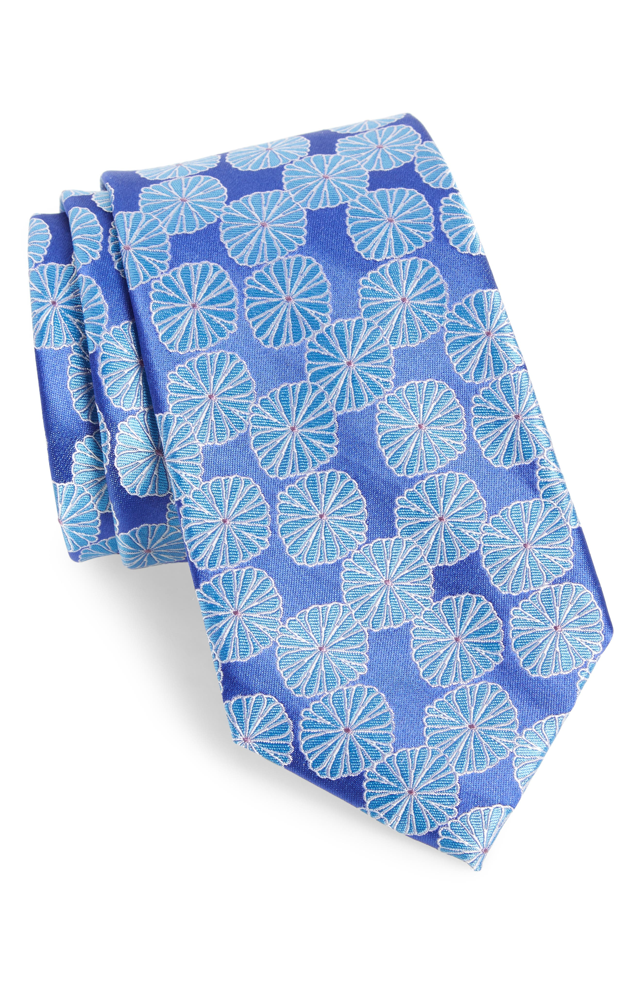 Santa Lucia Medallion Silk Tie,                             Main thumbnail 1, color,                             Royal