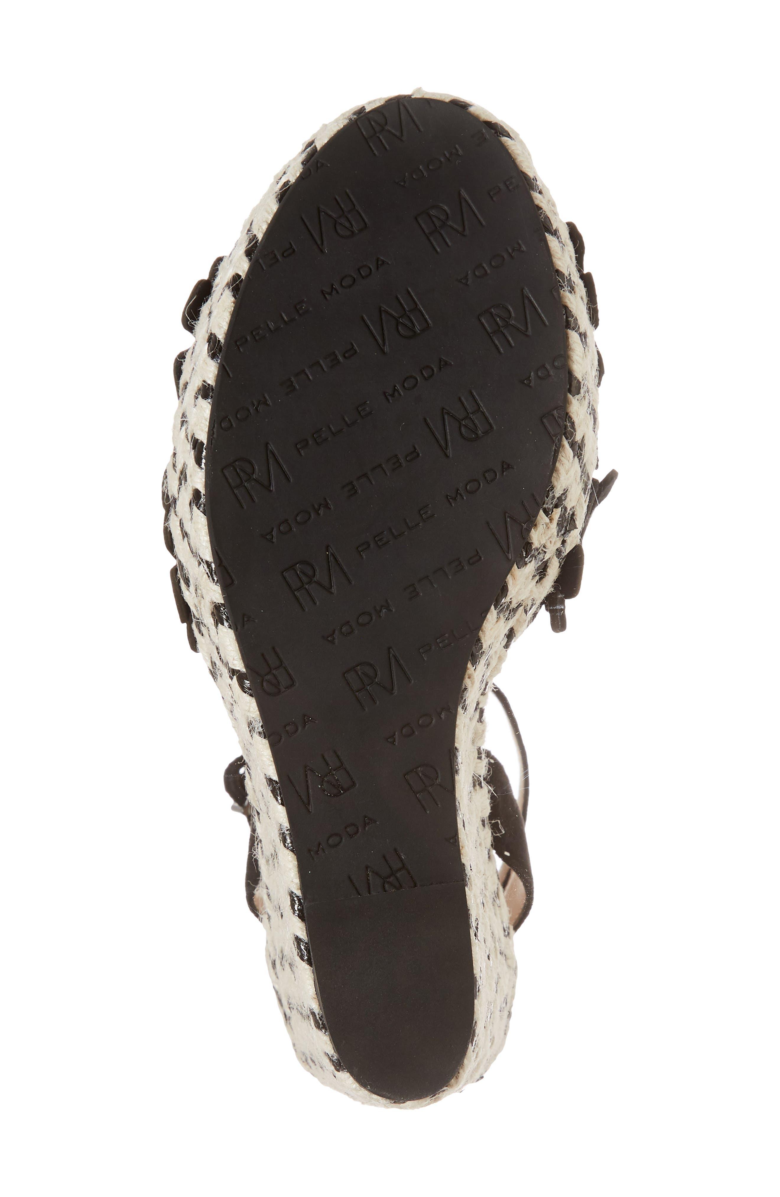 Waylin Espadrille Wedge Sandal,                             Alternate thumbnail 6, color,                             Black Suede
