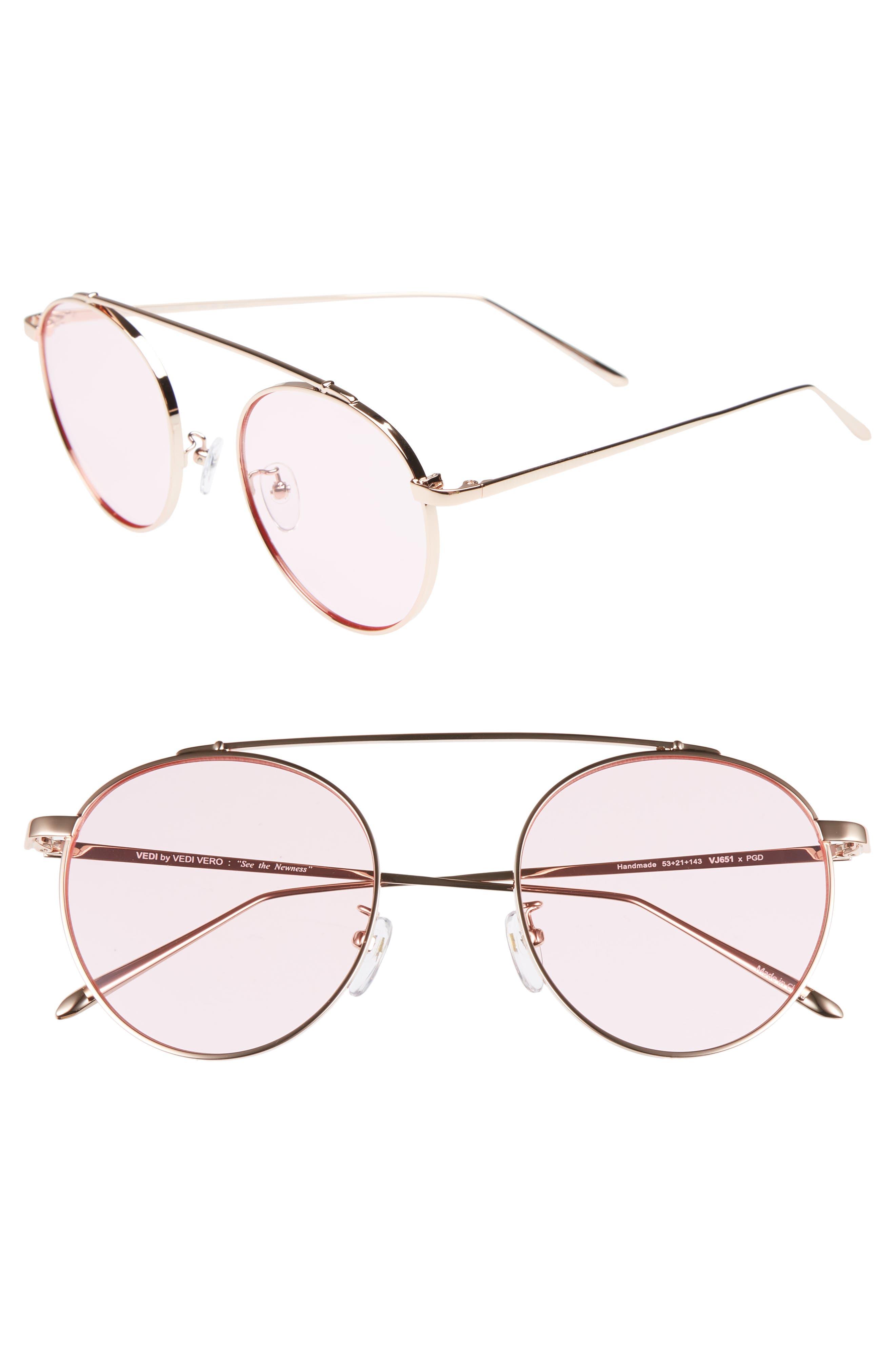 53mm Round Sunglasses,                             Main thumbnail 1, color,                             Rosegld/Pink