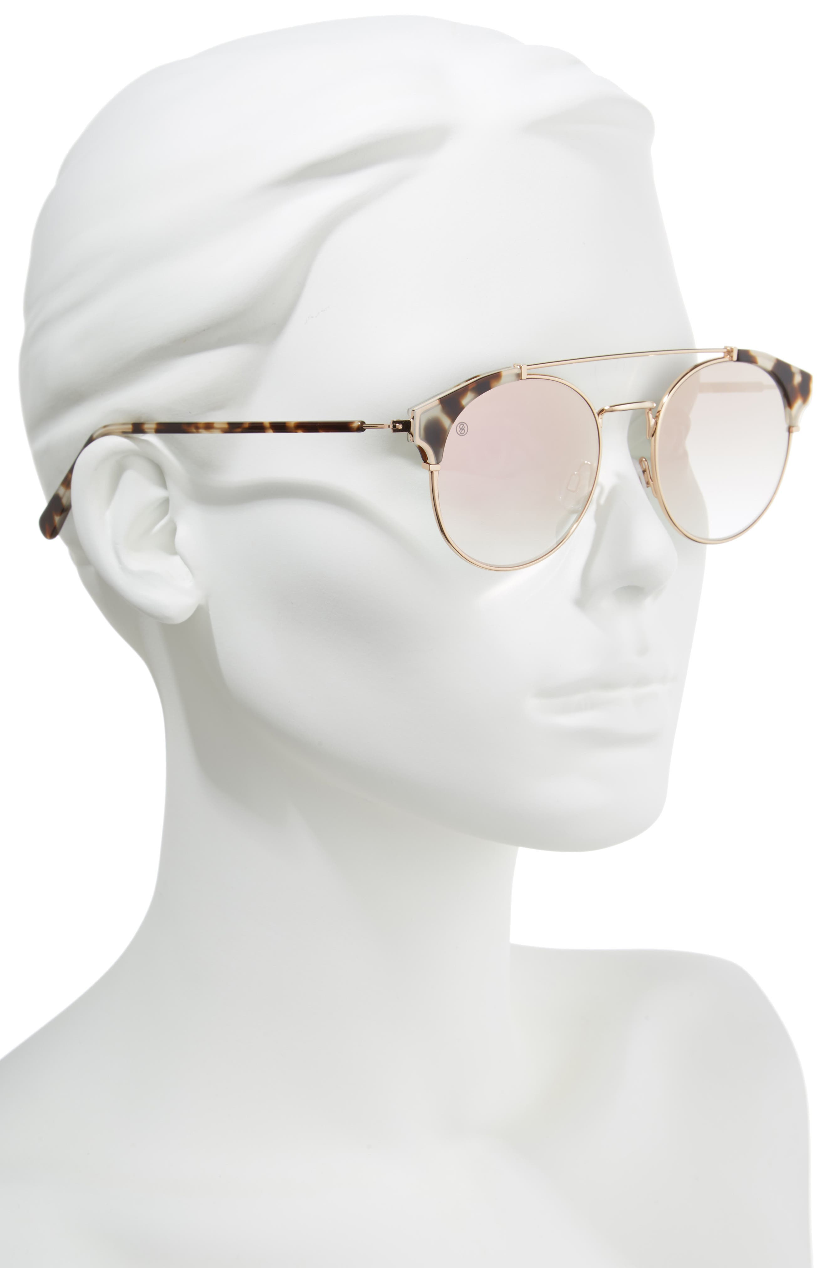 D'BLANC x Amuse Society Dosed Marquis 52mm Gradient Round Aviator Sunglasses,                             Alternate thumbnail 2, color,                             Snow Leopard/ Rose Flash