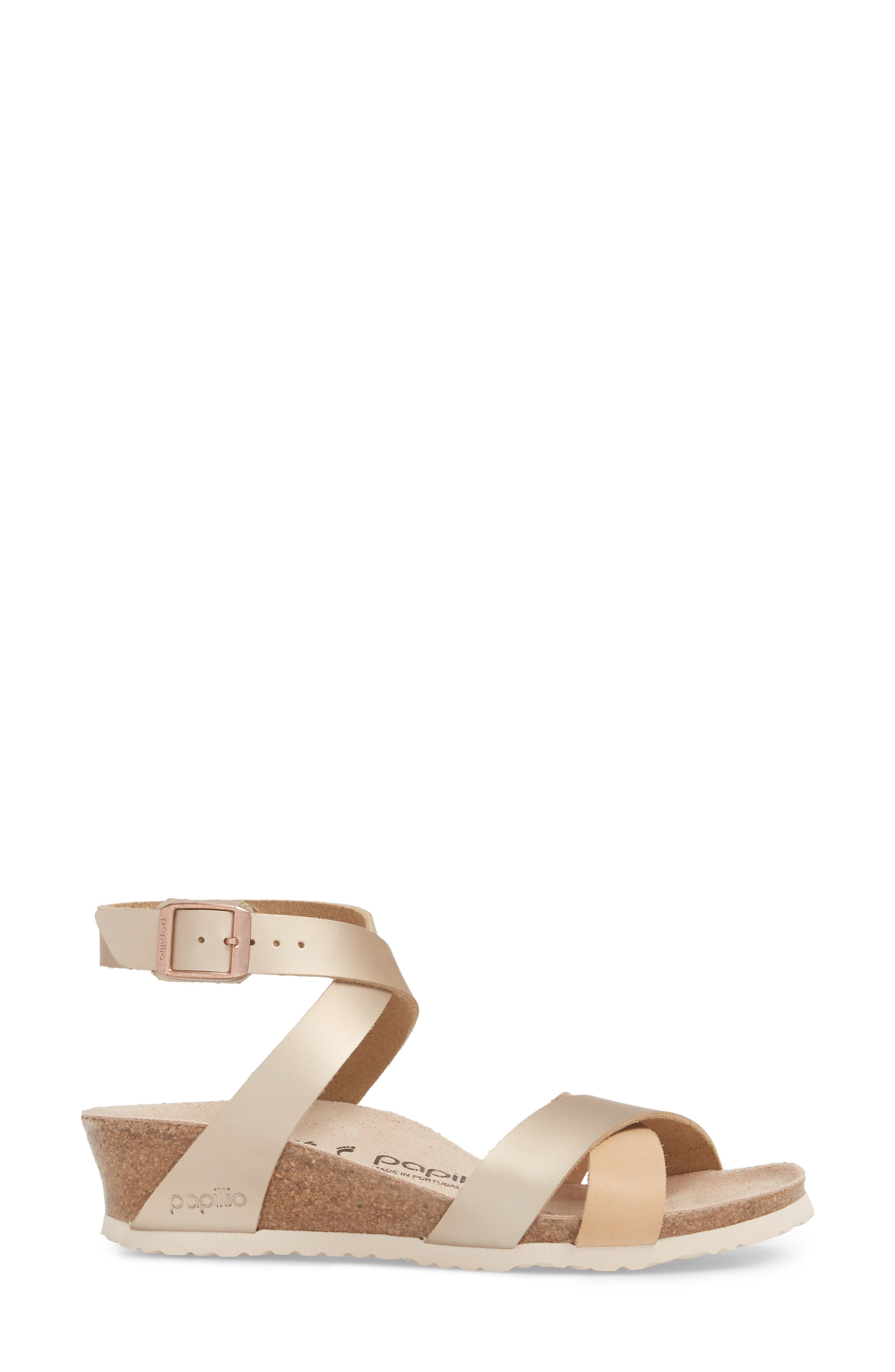 Papillio by Birkenstock Lola Wedge Sandal,                             Alternate thumbnail 3, color,                             Frosted Metallic Rose