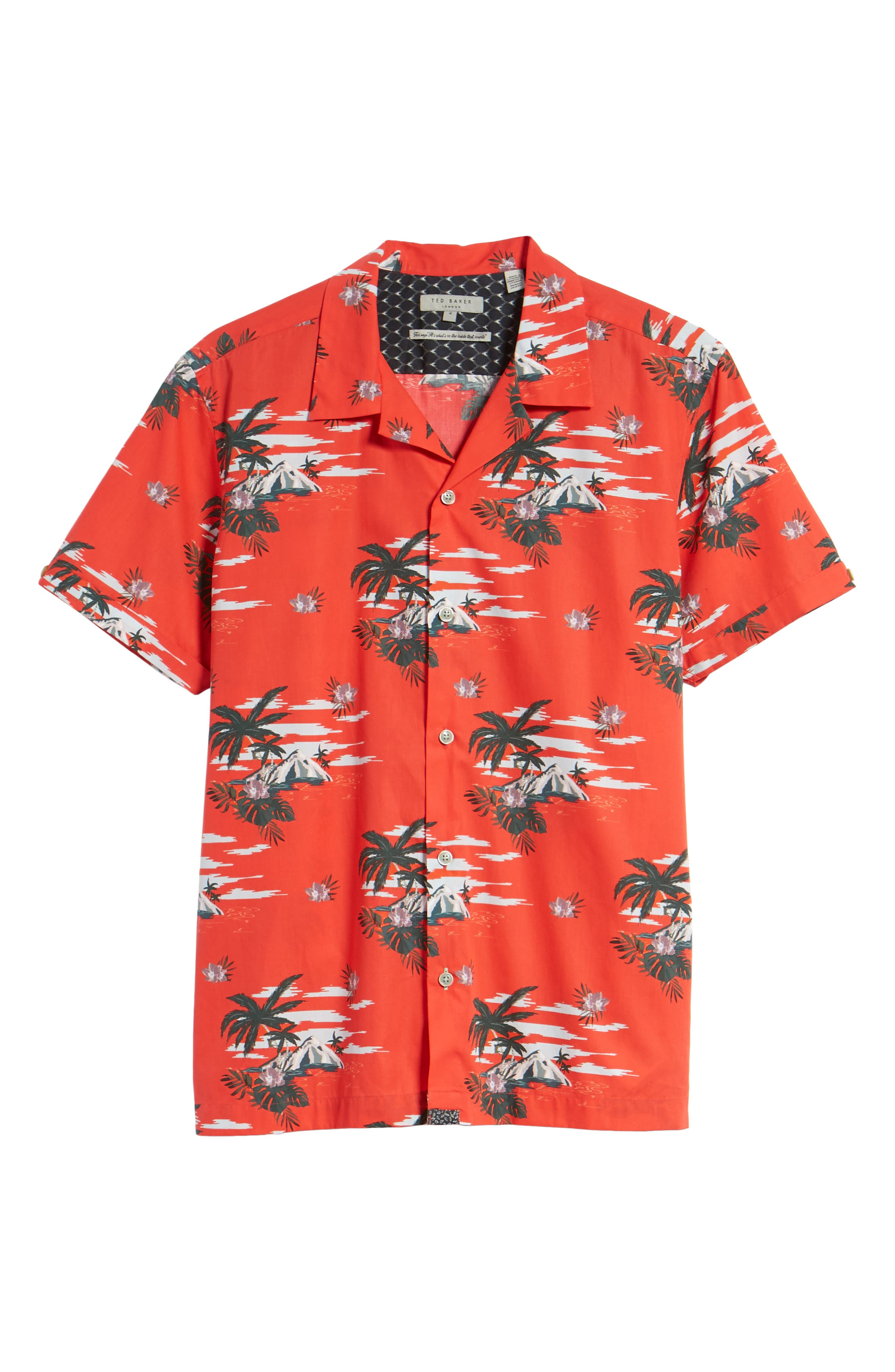 Slim Fit Tropical Pattern Sport Shirt,                             Alternate thumbnail 6, color,                             Red
