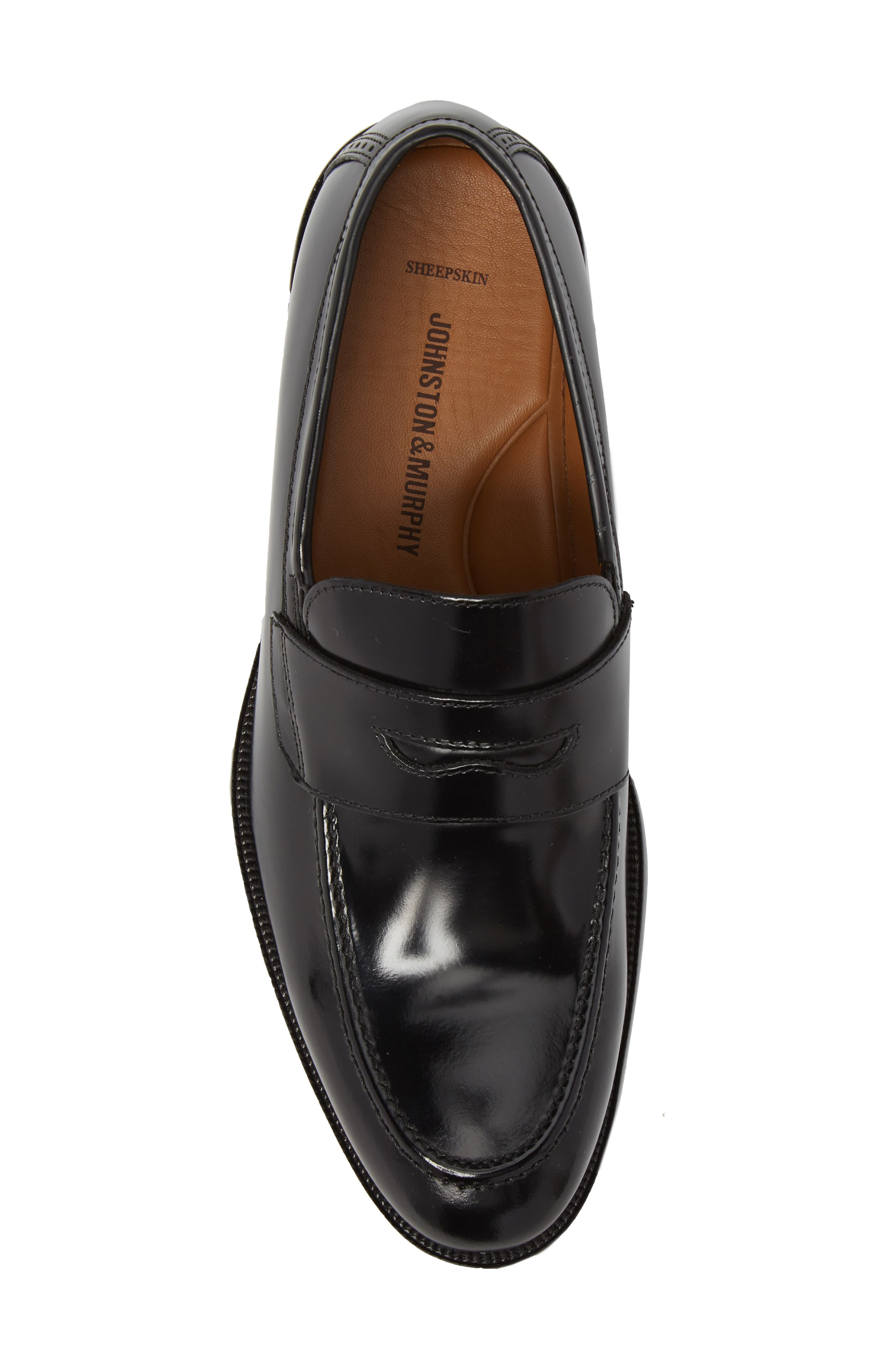 Bradford Penny Loafer,                             Alternate thumbnail 5, color,                             Black Leather