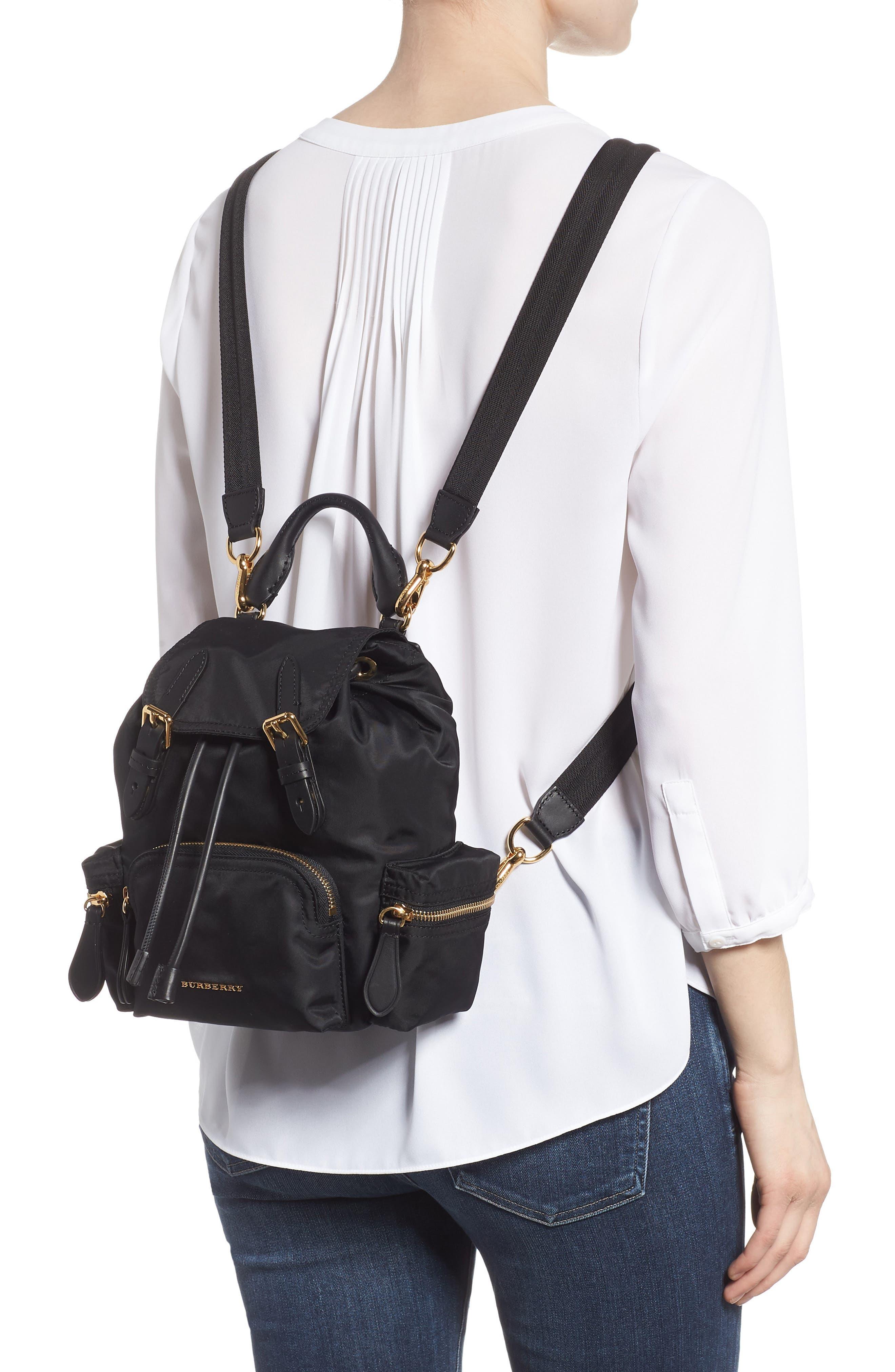 Small Rucksack Nylon Backpack,                             Alternate thumbnail 2, color,                             Black