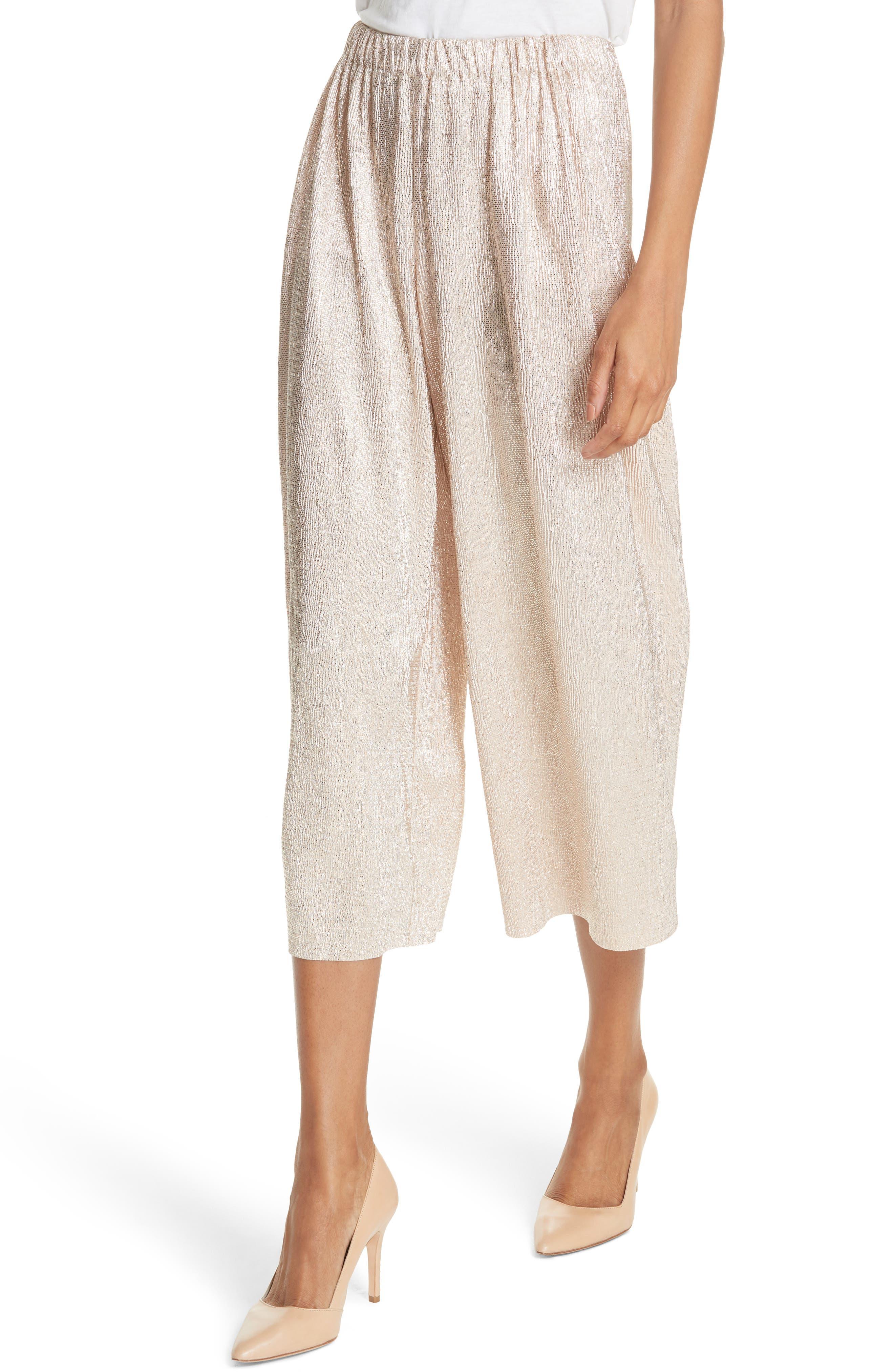 Elba Textured Crepe Wide Leg Pants,                             Alternate thumbnail 4, color,                             Blush