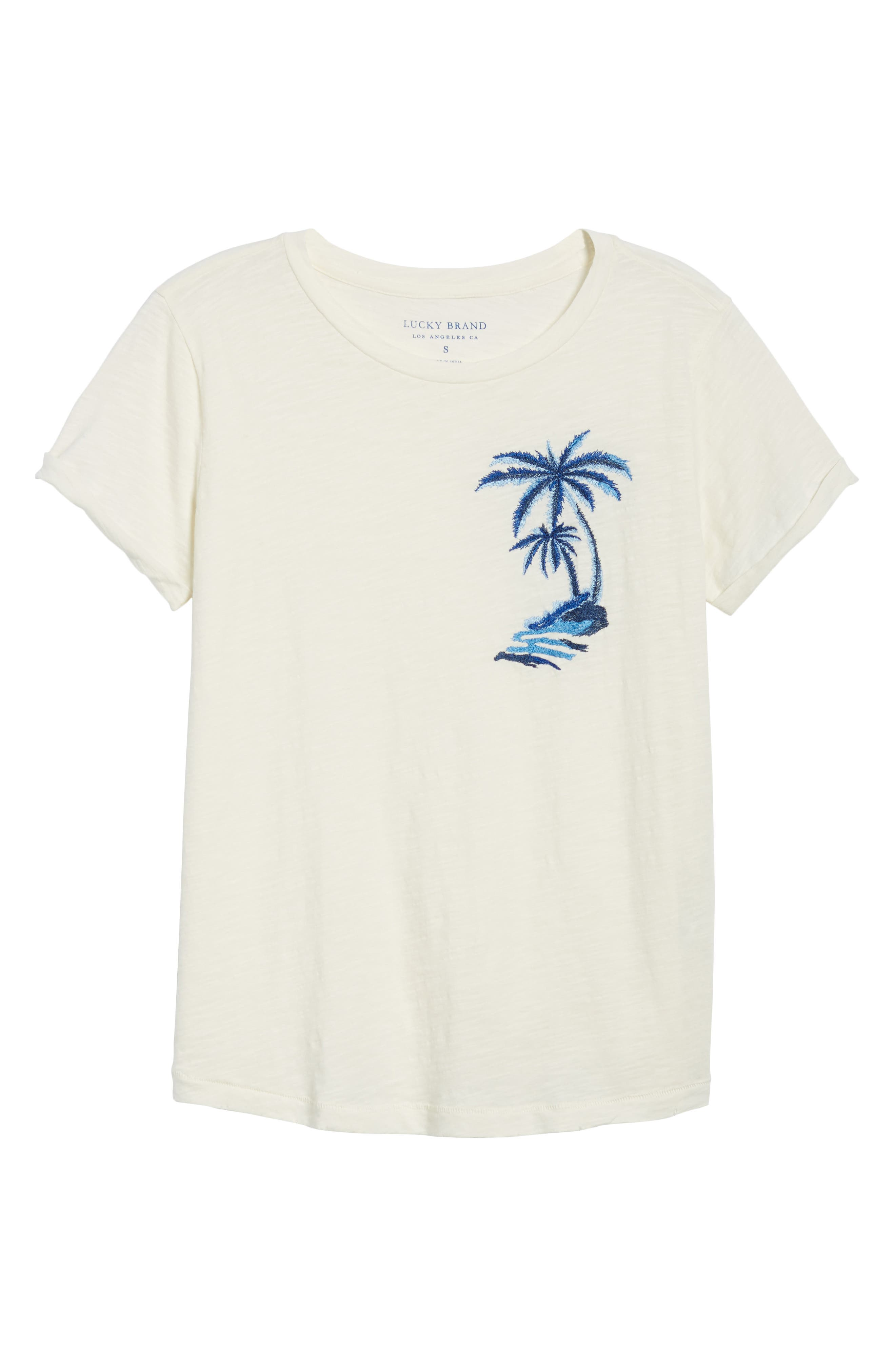 Embroidered Palm Tee,                             Alternate thumbnail 7, color,                             Lucky White