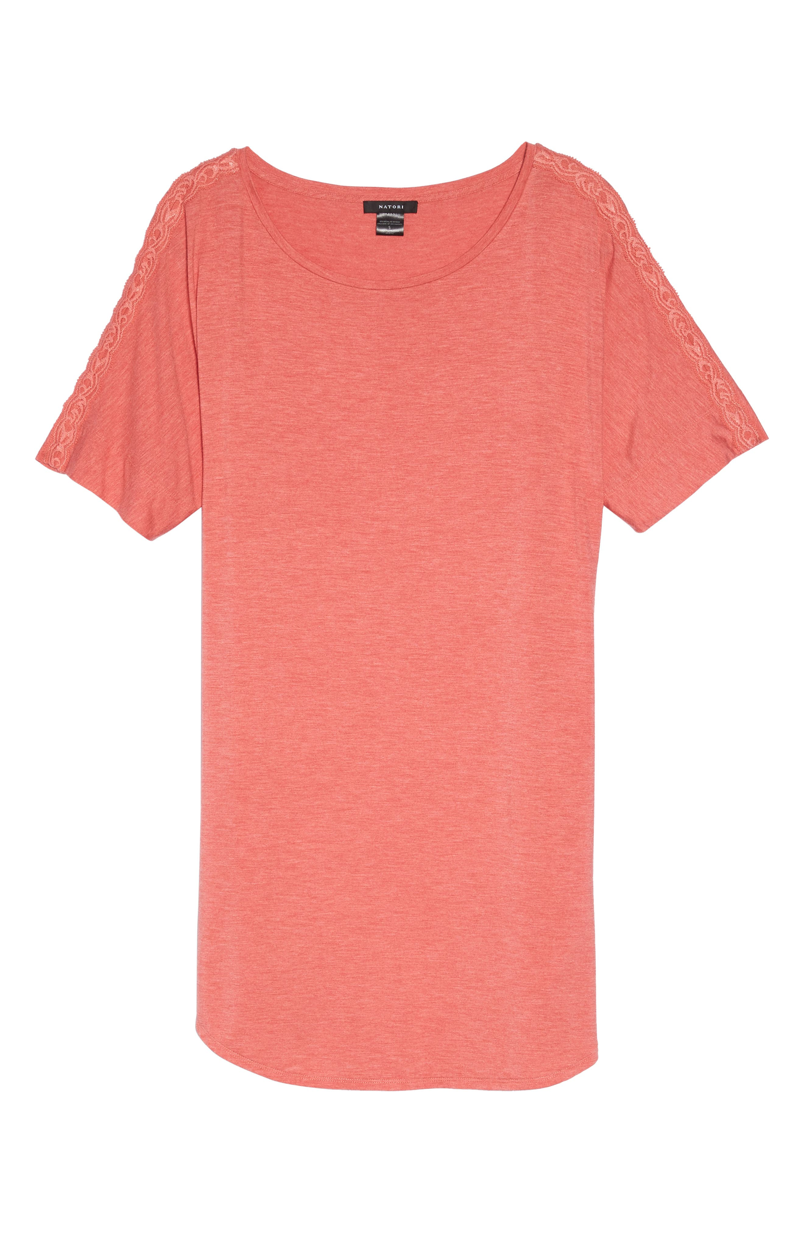 Feathers Essential Sleep Shirt,                             Alternate thumbnail 3, color,                             Coral