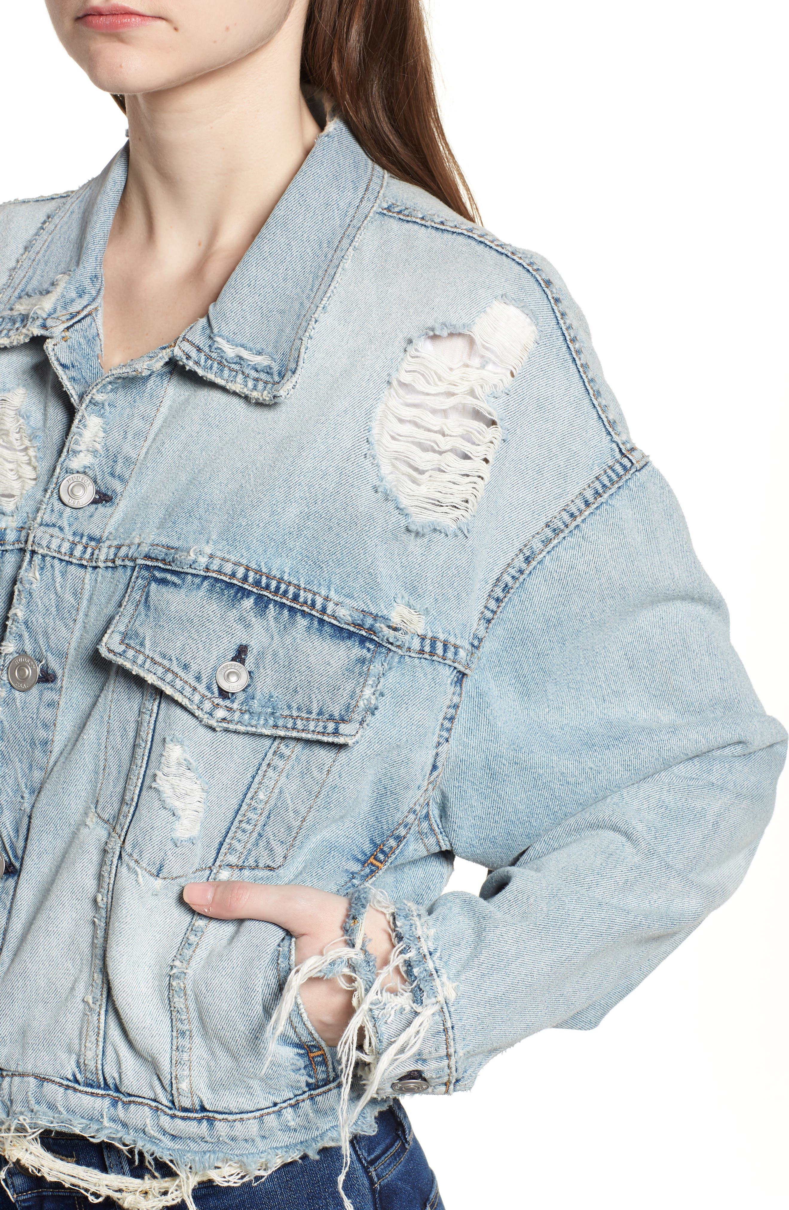 Rei Distressed Crop Denim Jacket,                             Alternate thumbnail 4, color,                             High And Dry