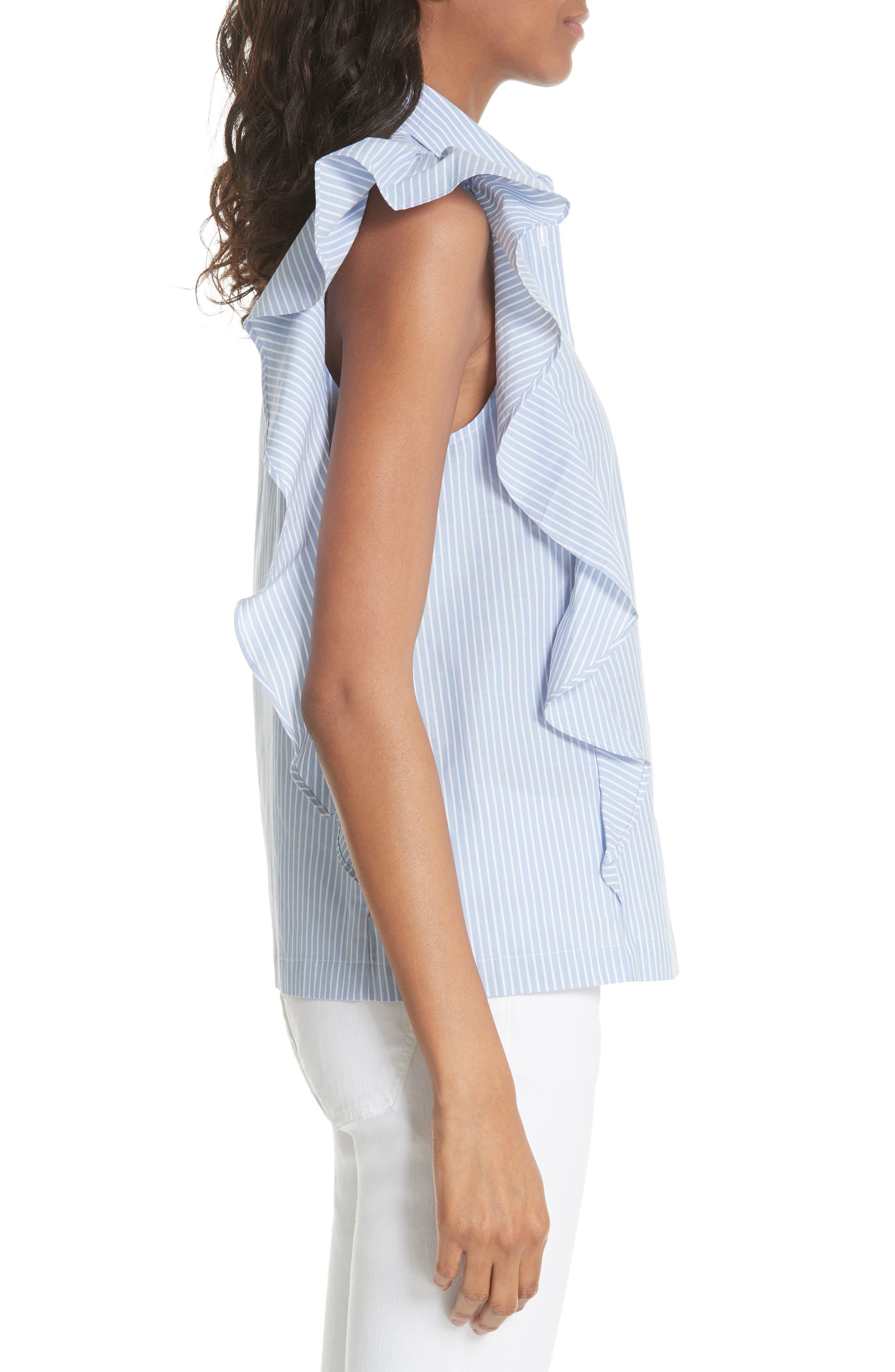 flutter sleeve stripe cotton blouse,                             Alternate thumbnail 3, color,                             Manatee/ Fresh White