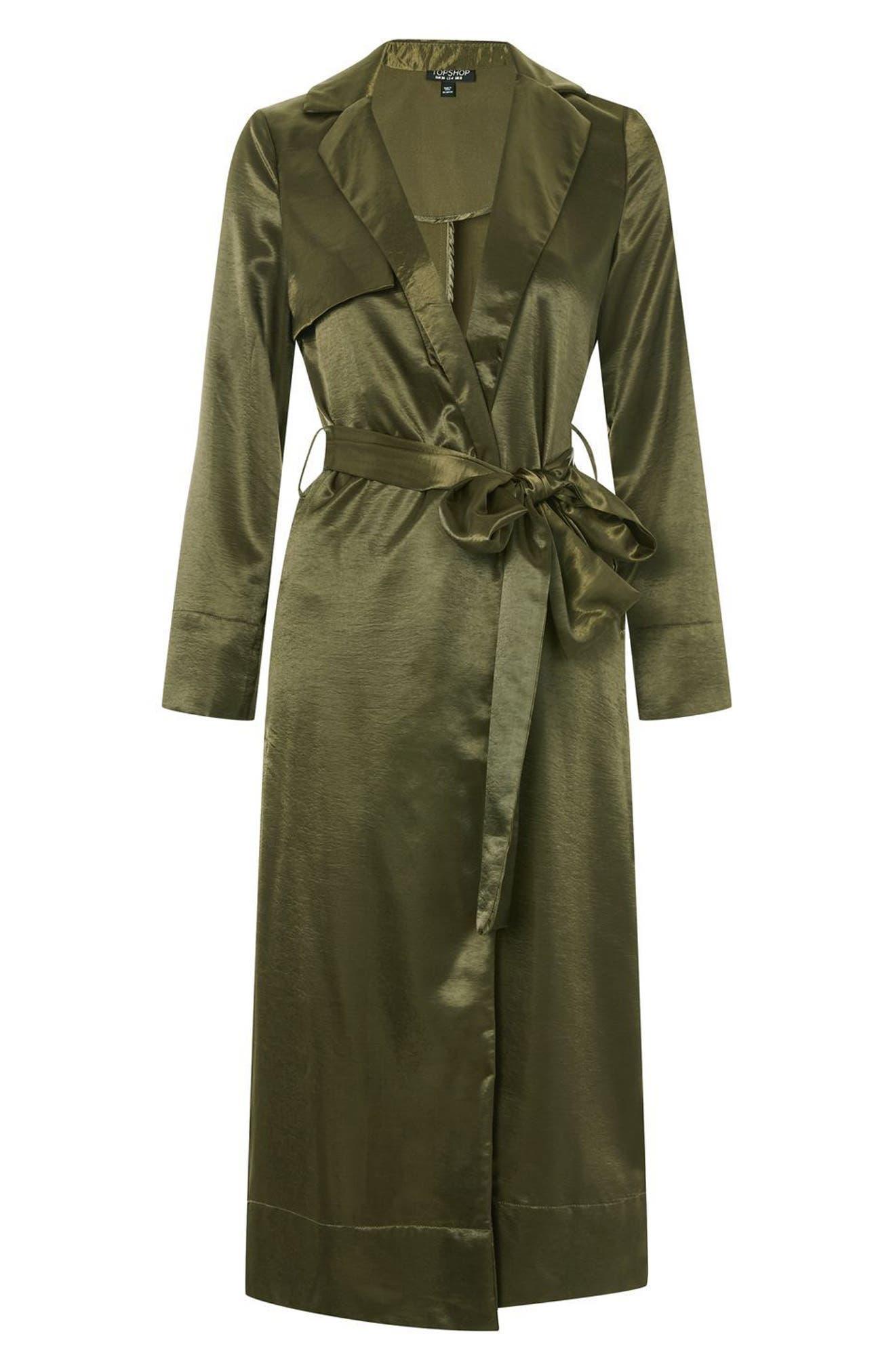 Belted Satin Duster Coat,                             Alternate thumbnail 4, color,                             Olive