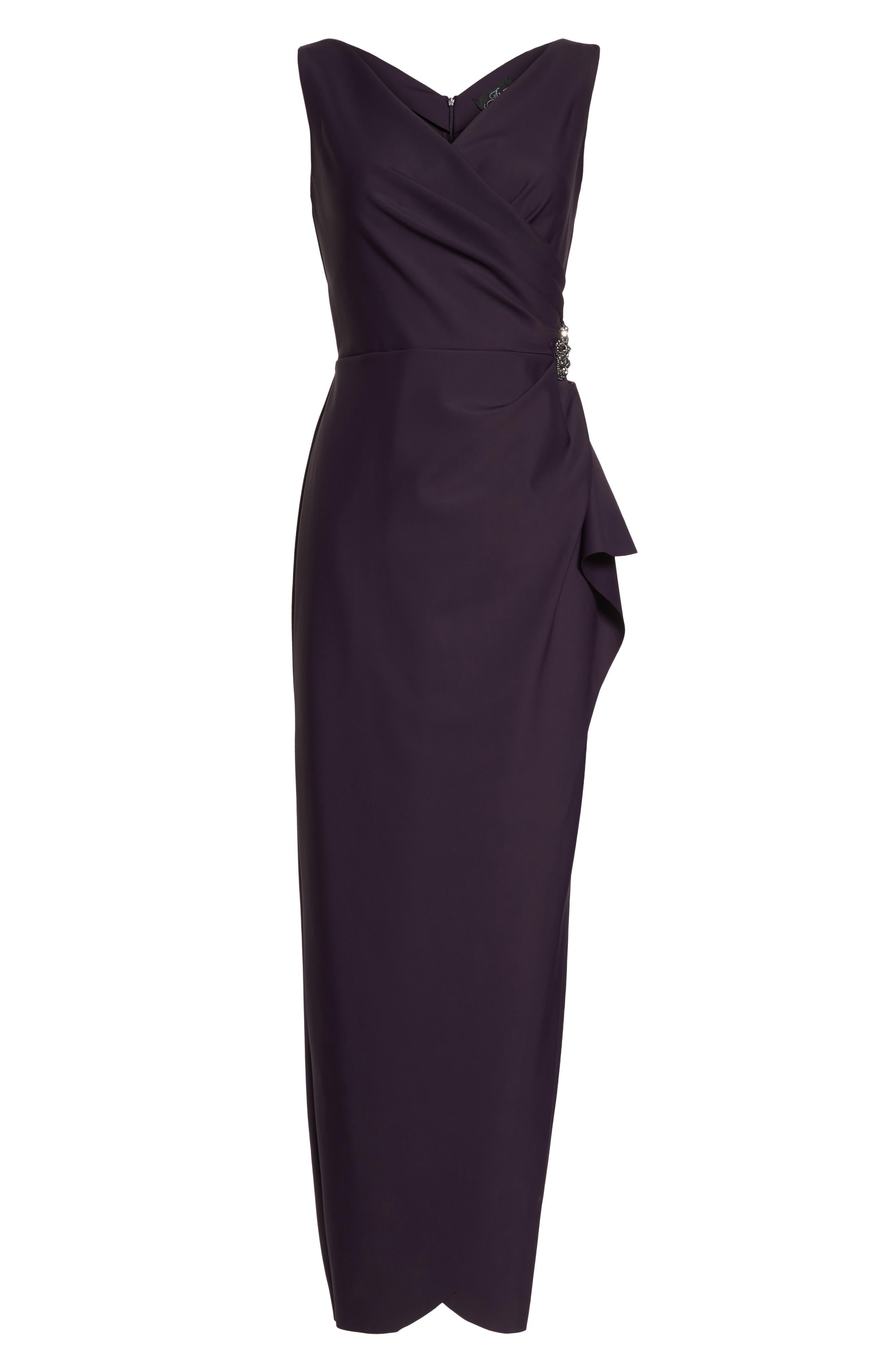 Embellished Side Drape Column Gown,                             Alternate thumbnail 6, color,                             Aubergine