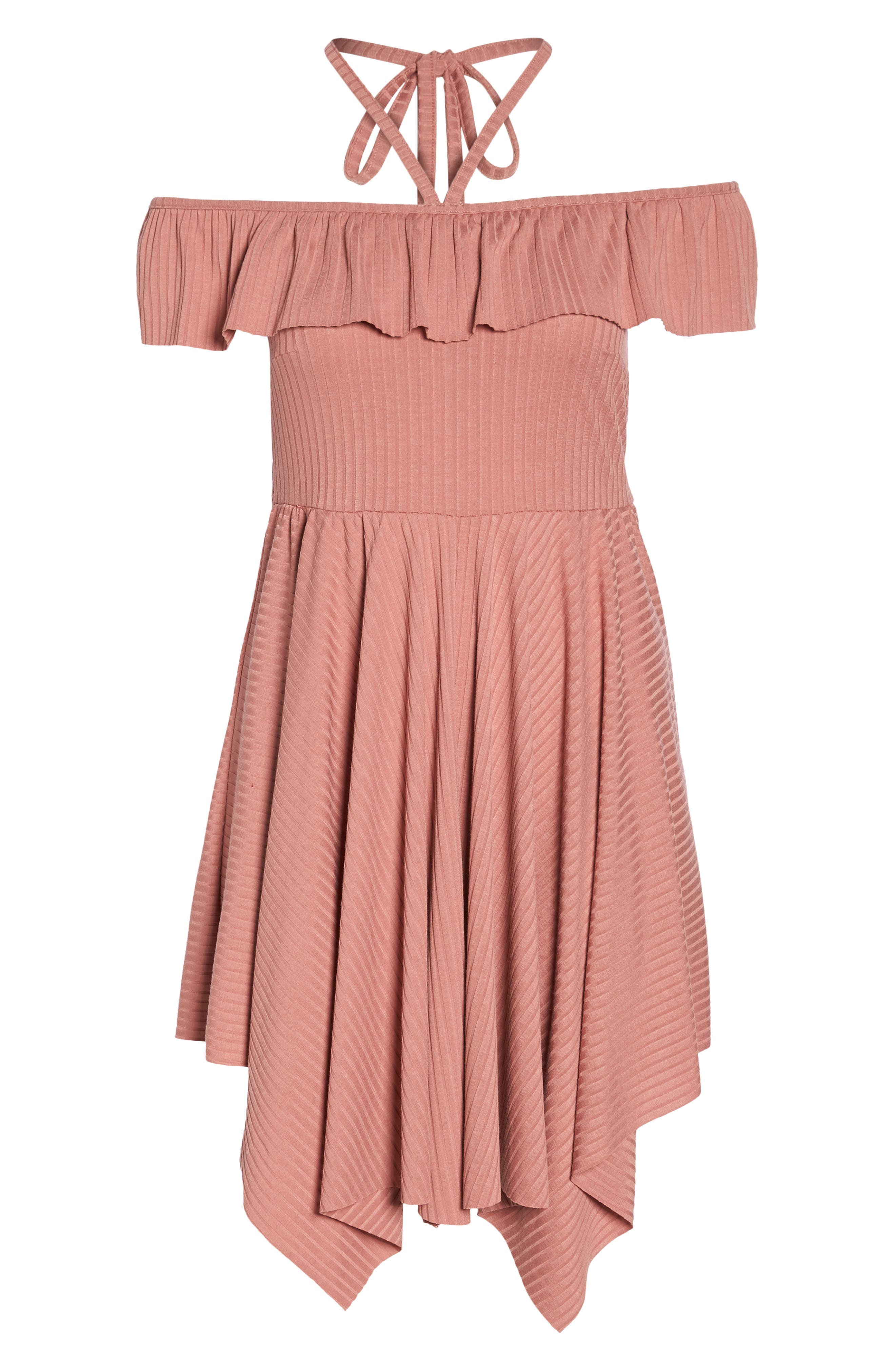 Asymmetrical Ribbed Off the Shoulder Dress,                             Alternate thumbnail 7, color,                             Blush