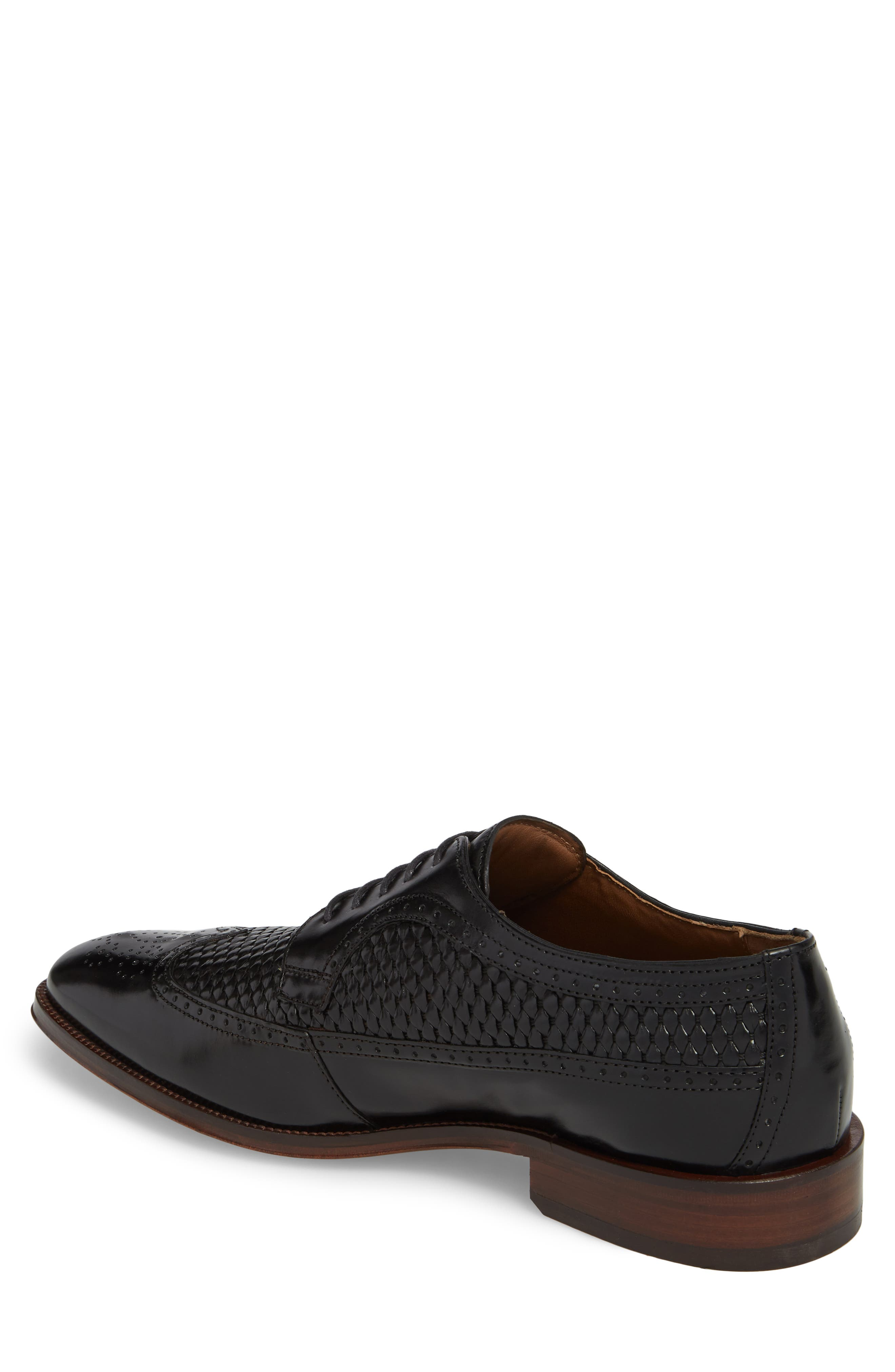 Boydstun Woven Wingtip Derby,                             Alternate thumbnail 2, color,                             Black Leather
