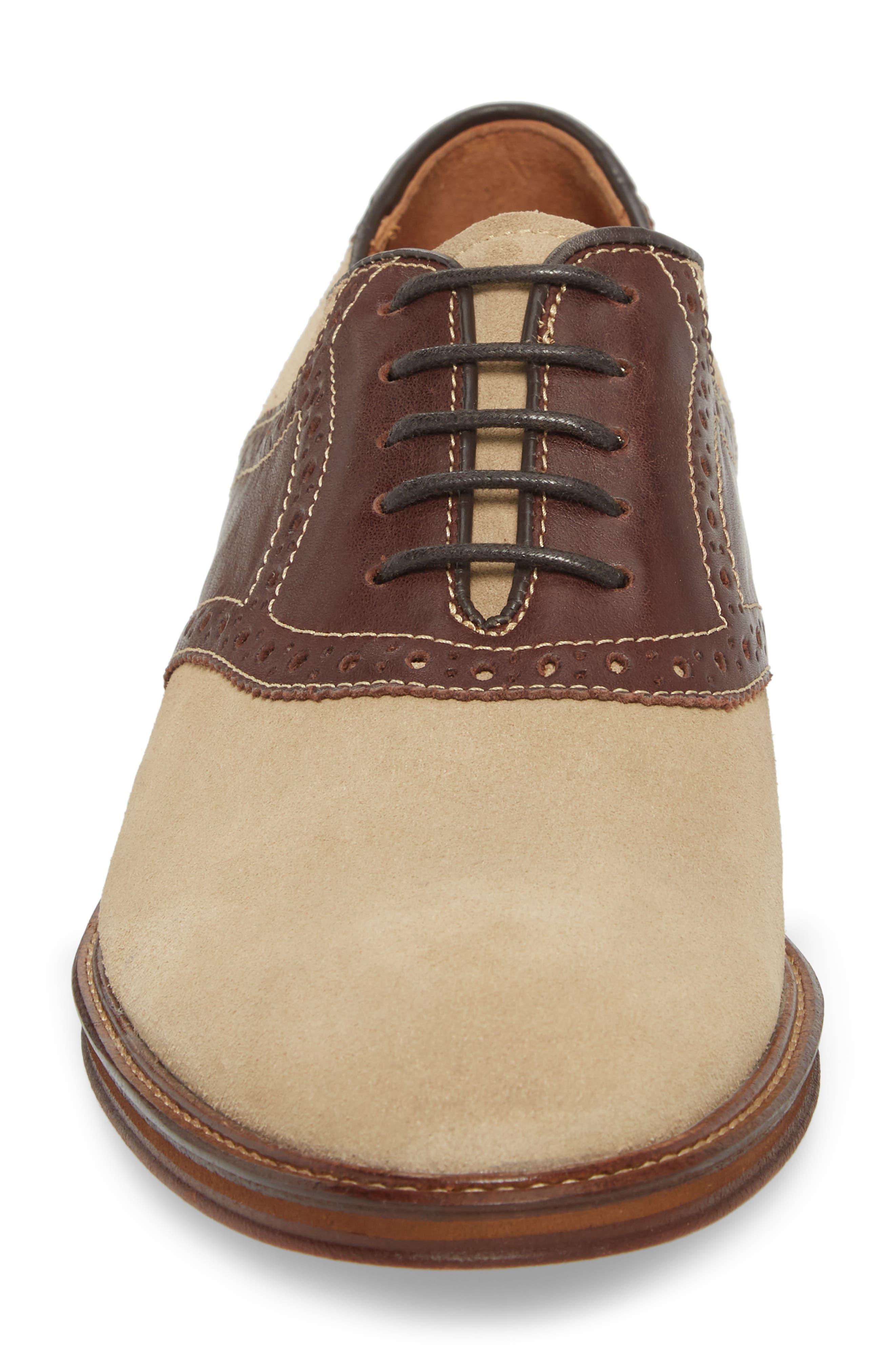 Warner Saddle Shoe,                             Alternate thumbnail 4, color,                             Camel Nubuck