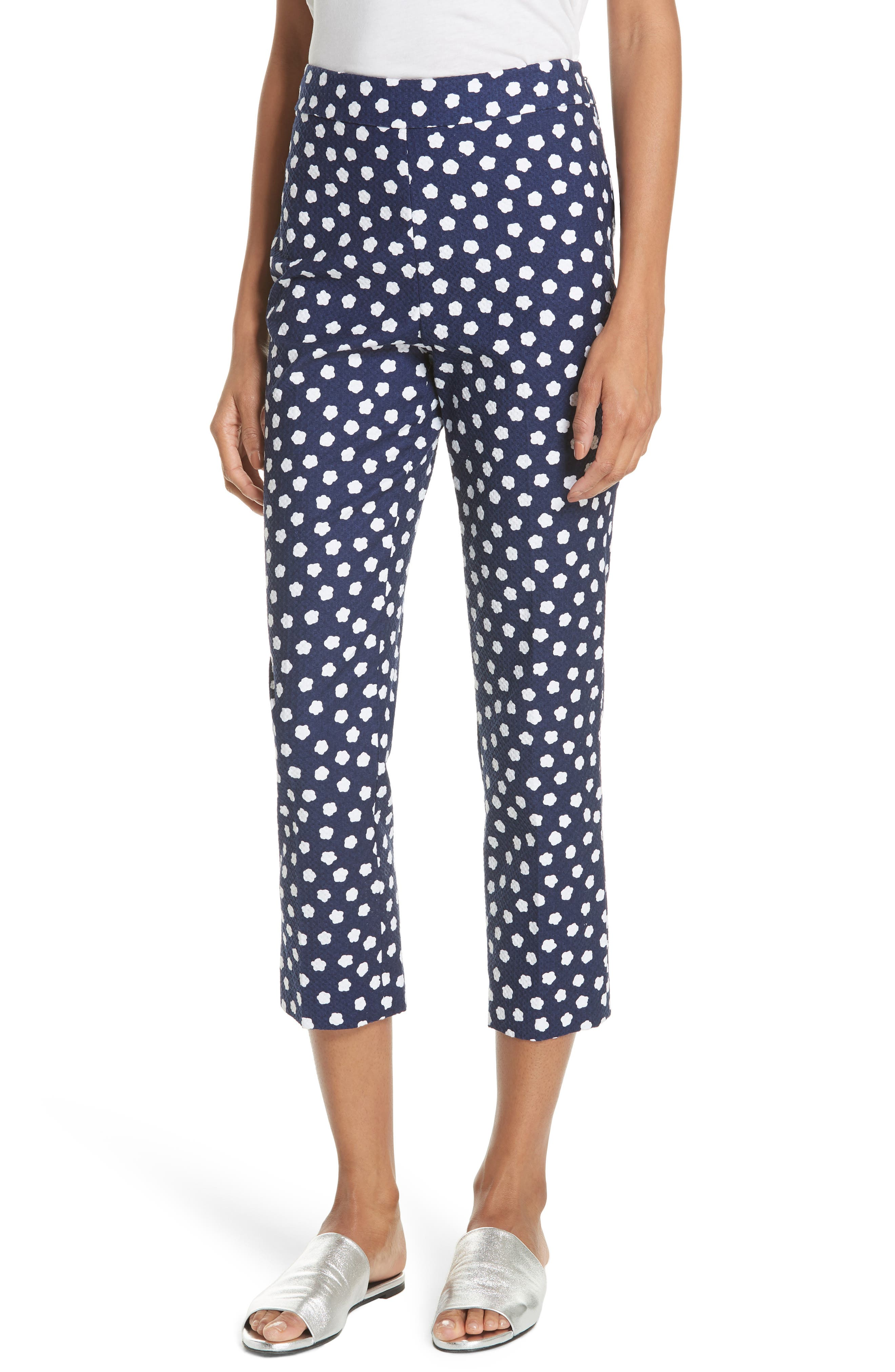 cloud print stretch cotton jacquard pants,                         Main,                         color, French Navy/ Fresh White