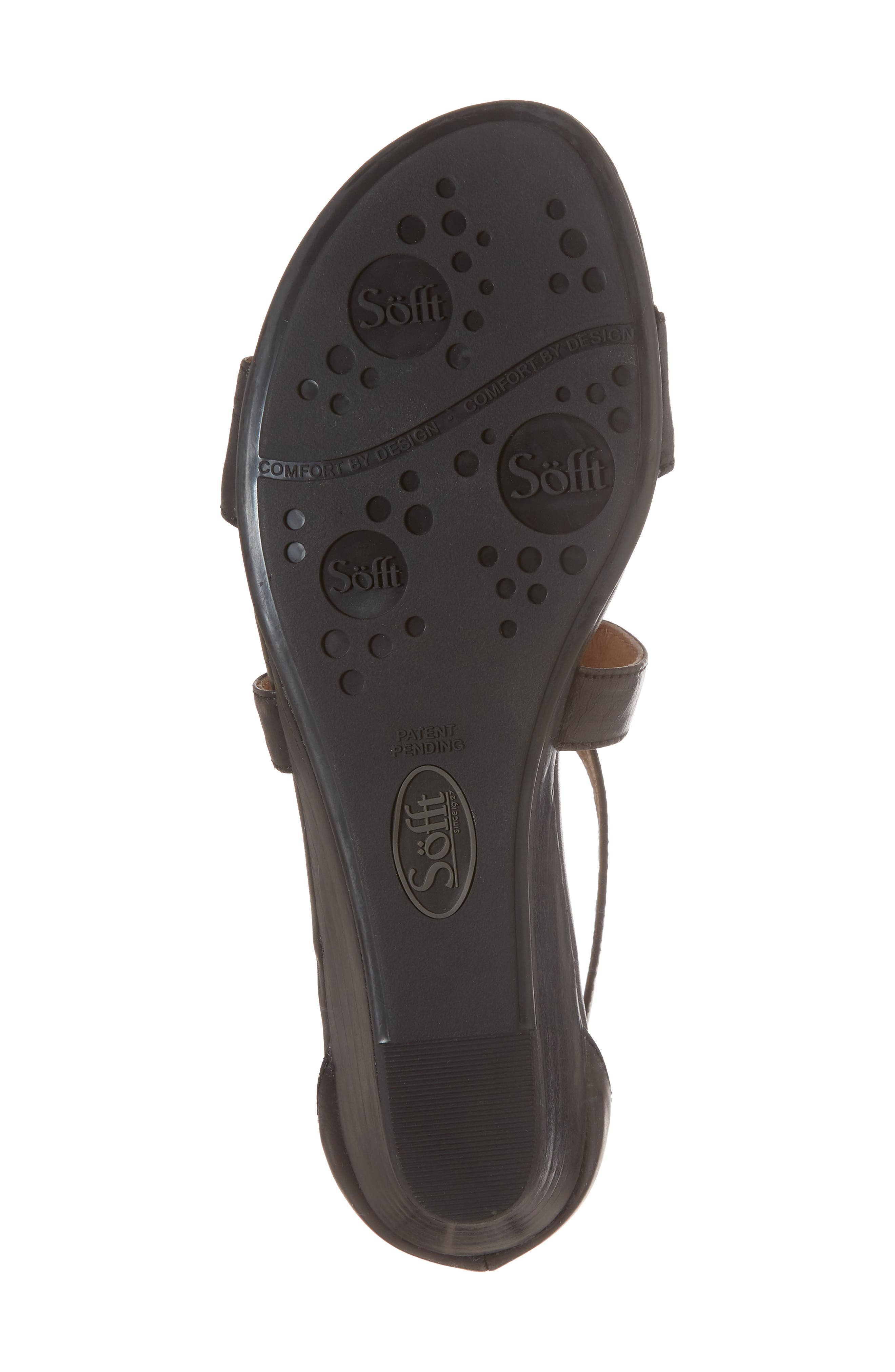 'Innis' Low Wedge Sandal,                             Alternate thumbnail 6, color,                             Black Leather