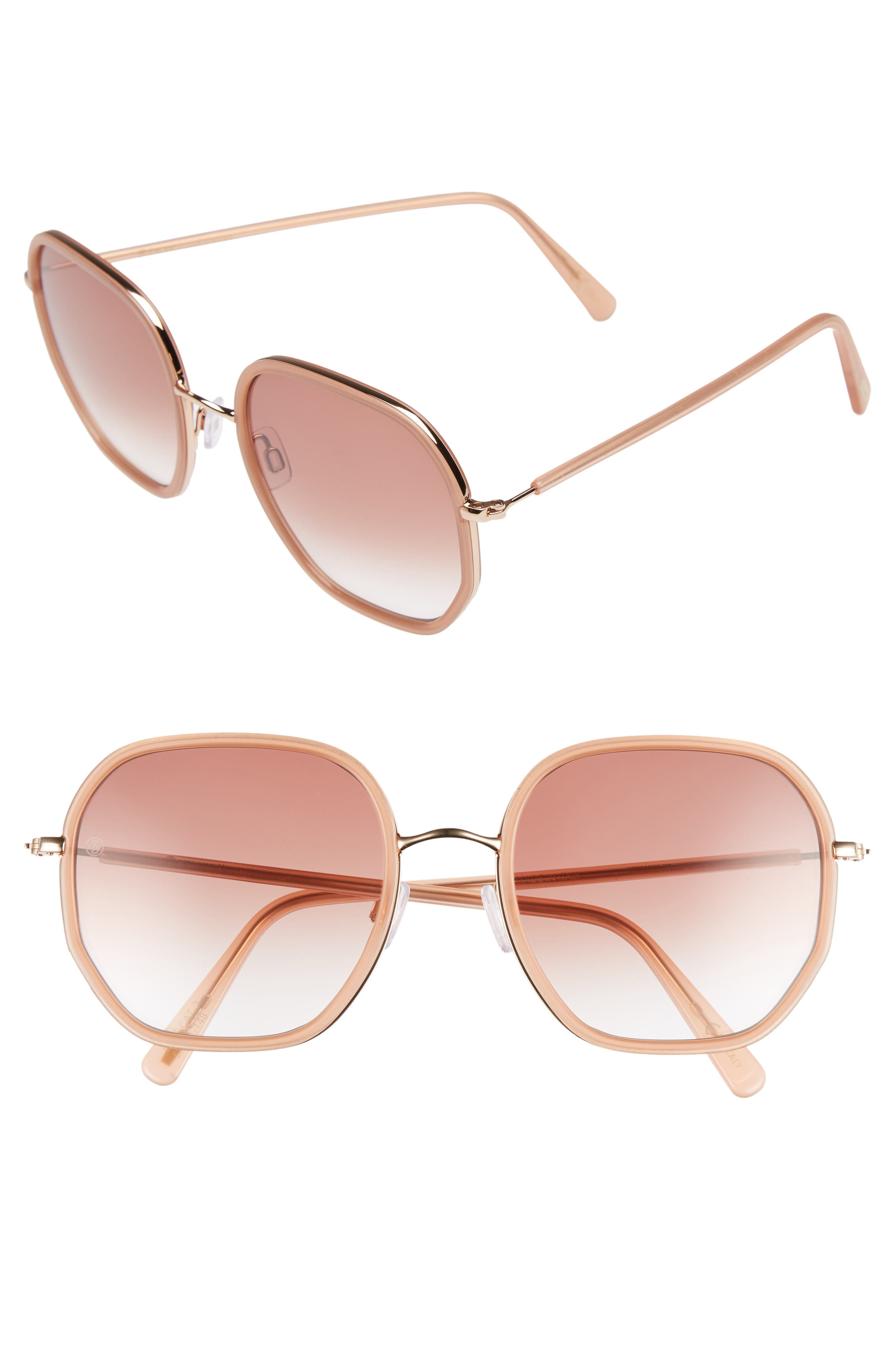 D'BLANC Rare Fortune 57mm Sunglasses,                         Main,                         color, Gold Sienna/ Rose