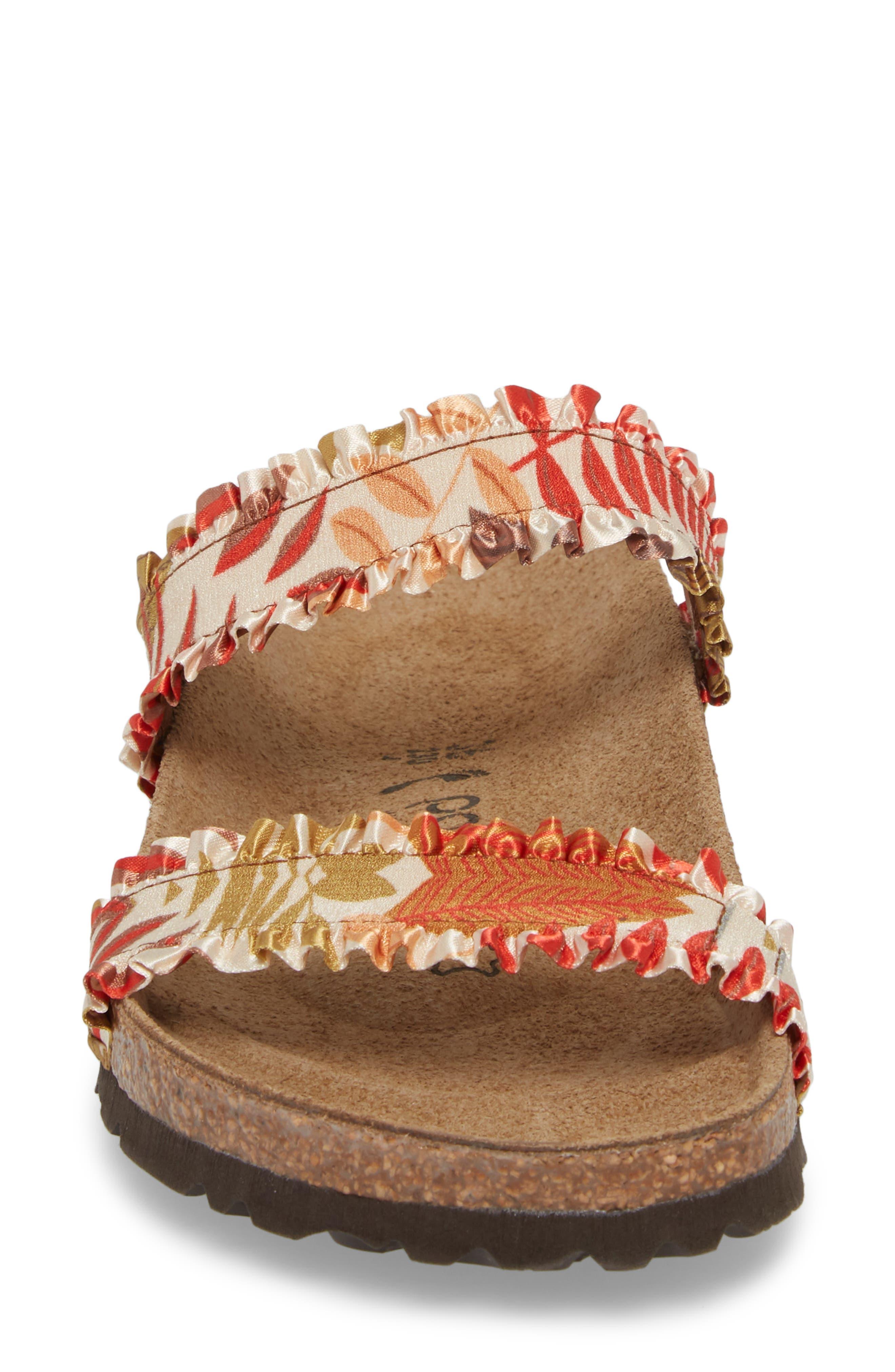 Papillio by Birkenstock Curacao Slide Sandal,                             Alternate thumbnail 4, color,                             Flower Frill Brown Fabric