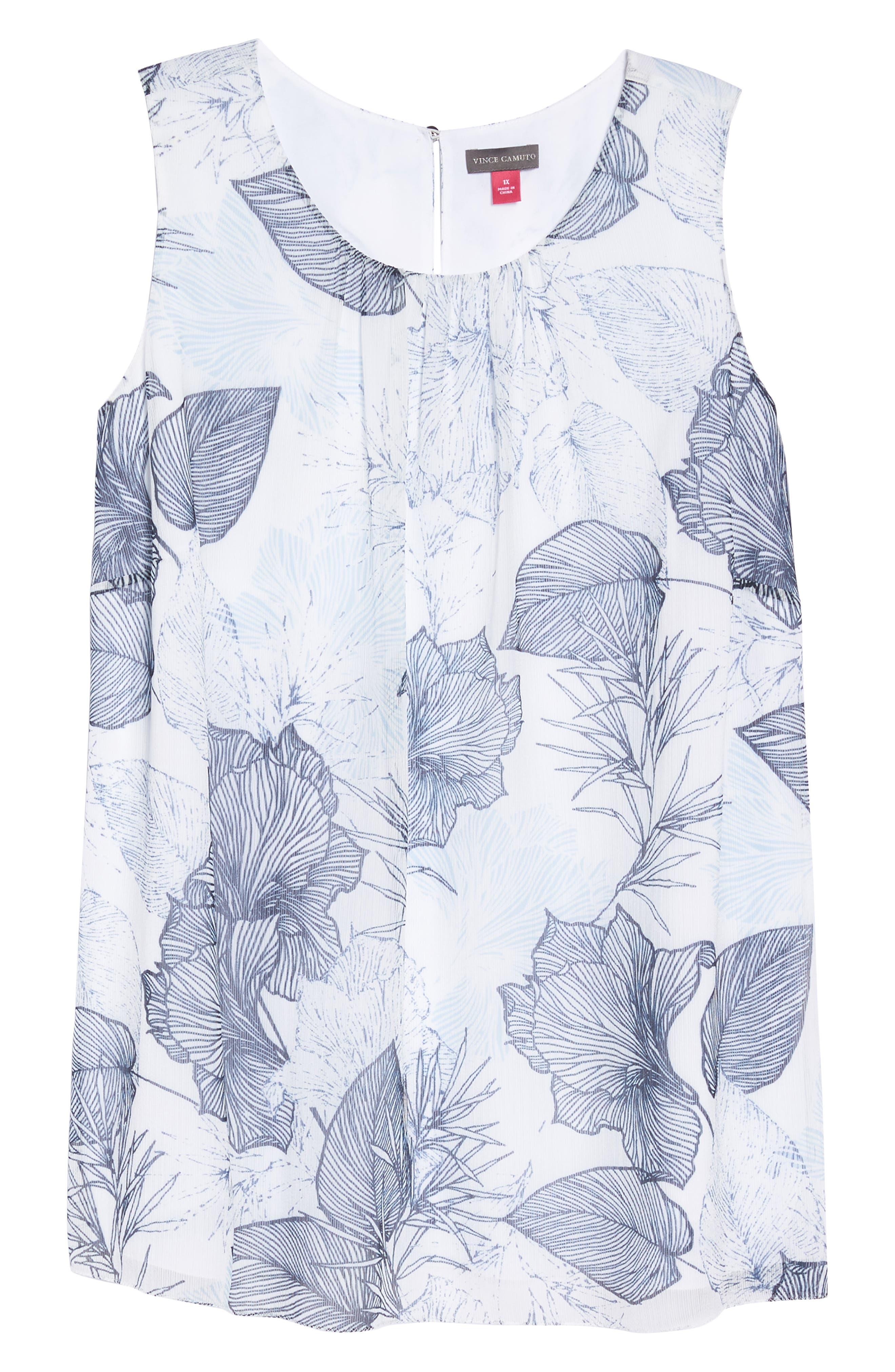 Etched Island Floral Blouse,                             Alternate thumbnail 6, color,                             Ultra White