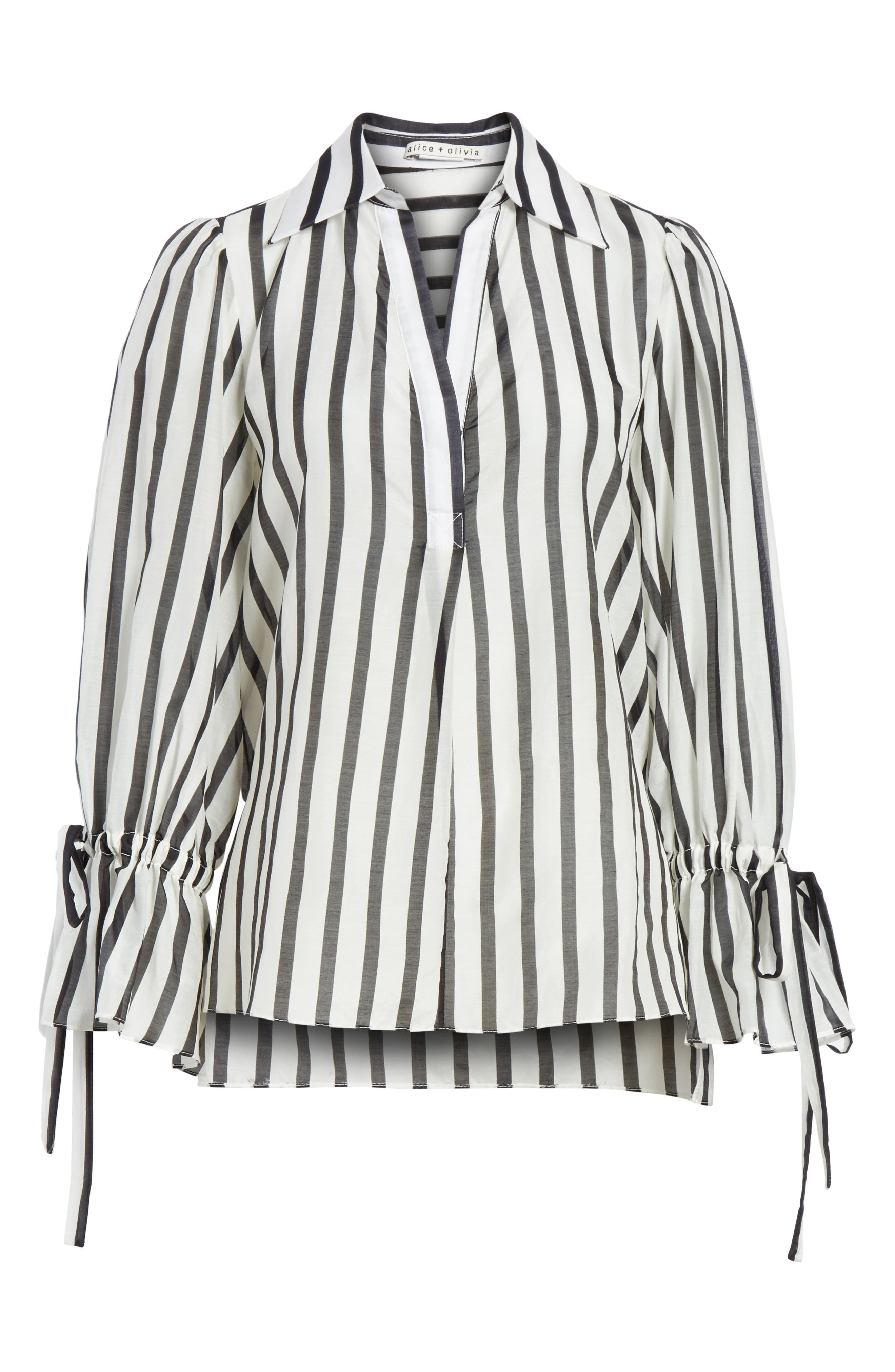 Geraldine Bow Sleeve Stripe Cotton Silk Tunic Top,                             Alternate thumbnail 6, color,                             Monochrome Stripe
