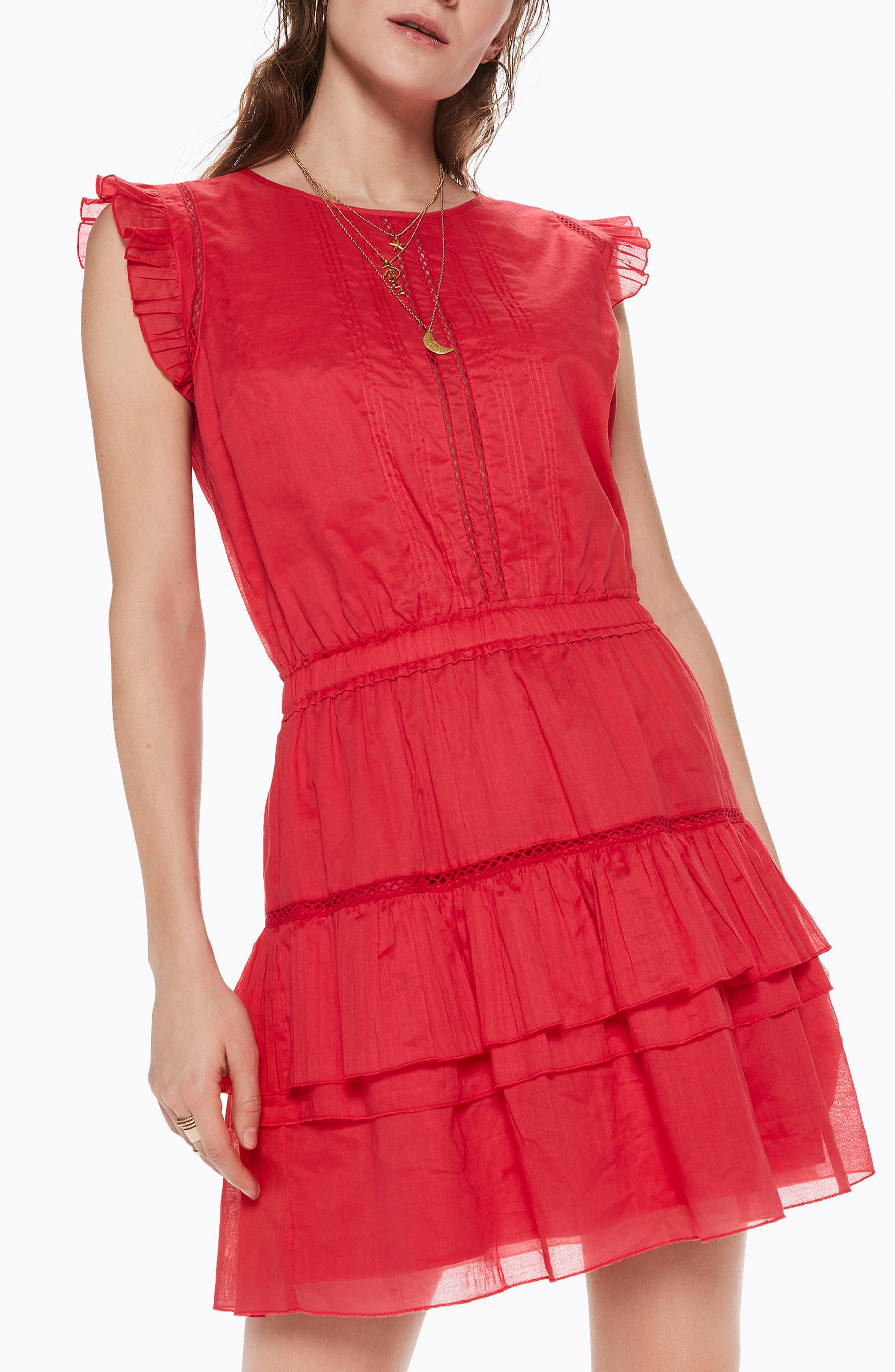 Tiered Sleeveless Dress,                         Main,                         color, Color 0406 Coral