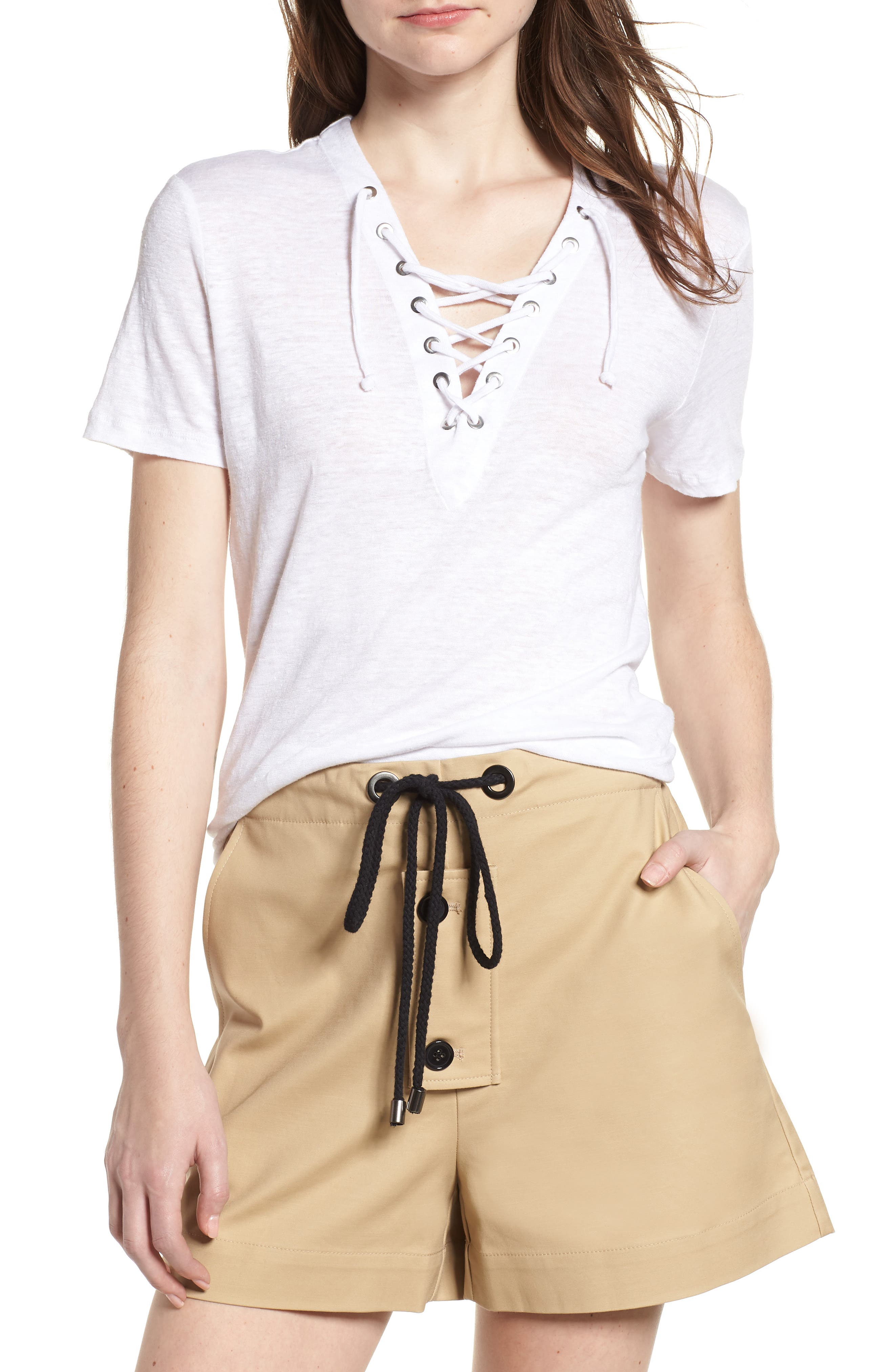 Pier Lace-Up Tee,                         Main,                         color, White