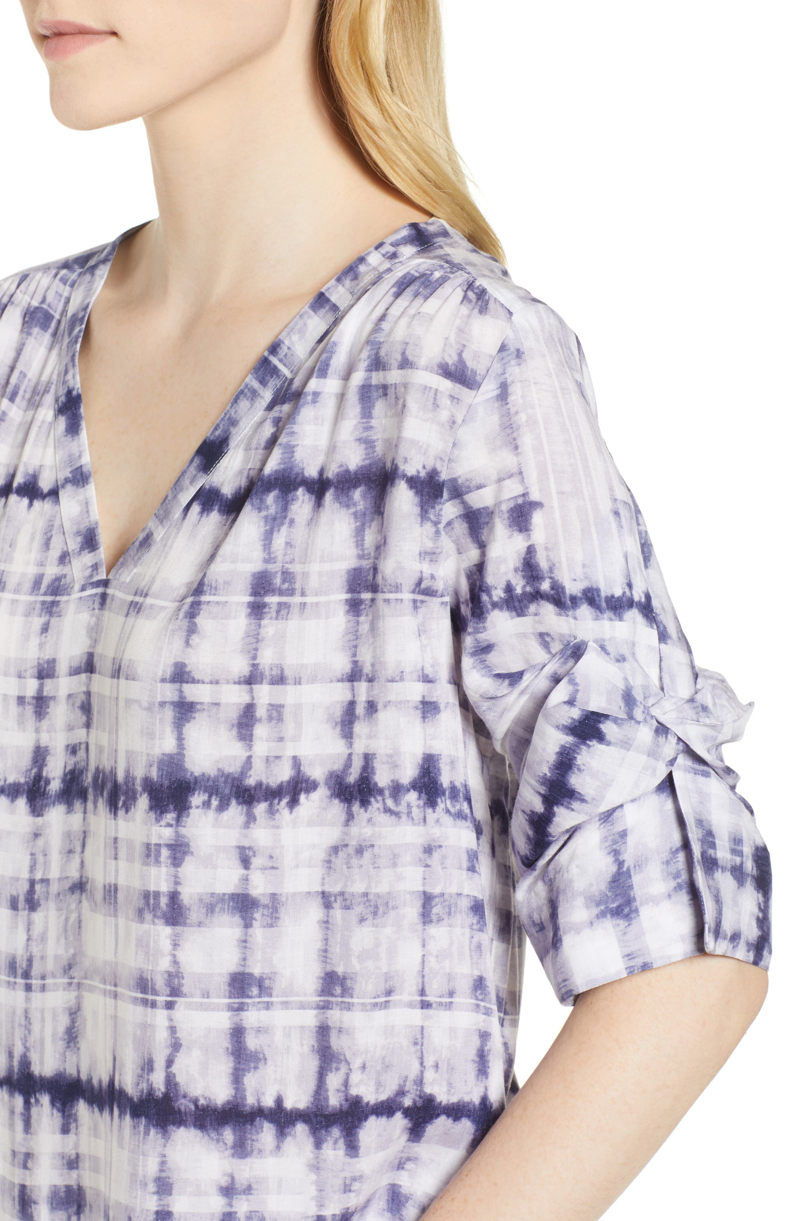 Shibori Plaid Gathered Sleeve Top,                             Alternate thumbnail 4, color,                             Evening Navy