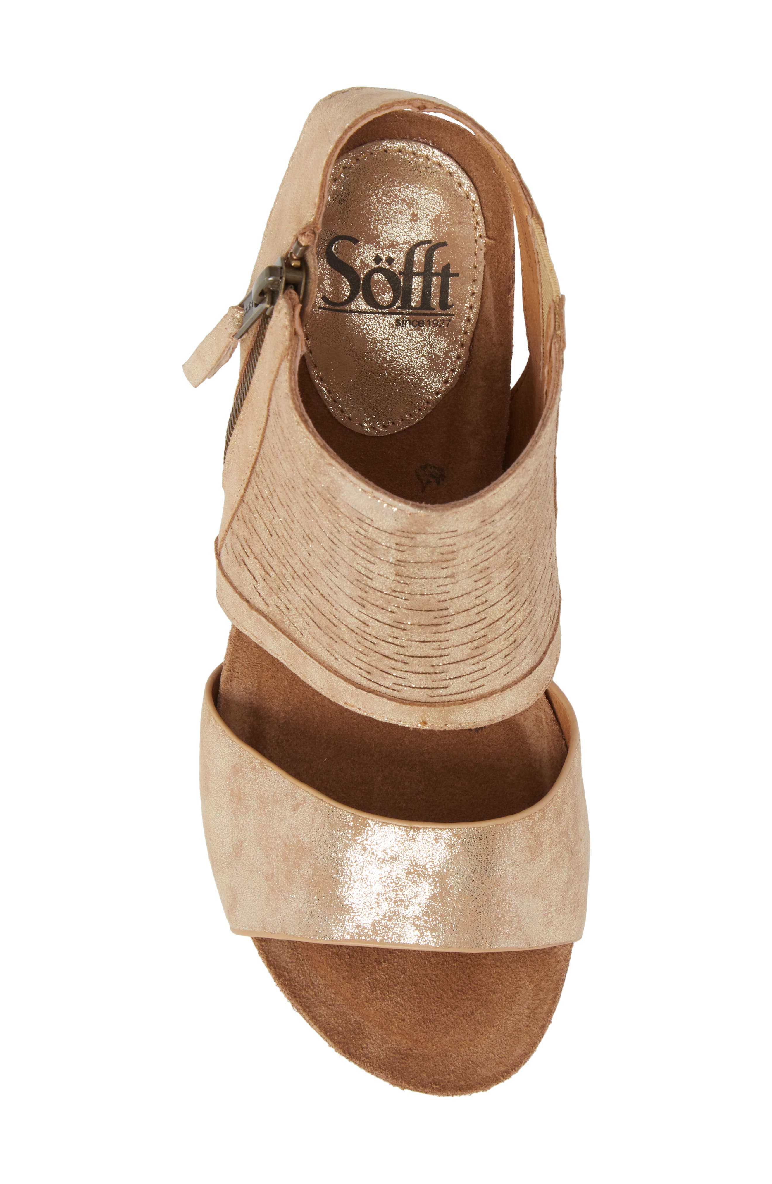 Milan Block Heel Sandal,                             Alternate thumbnail 5, color,                             Platino Distressed Foil Suede