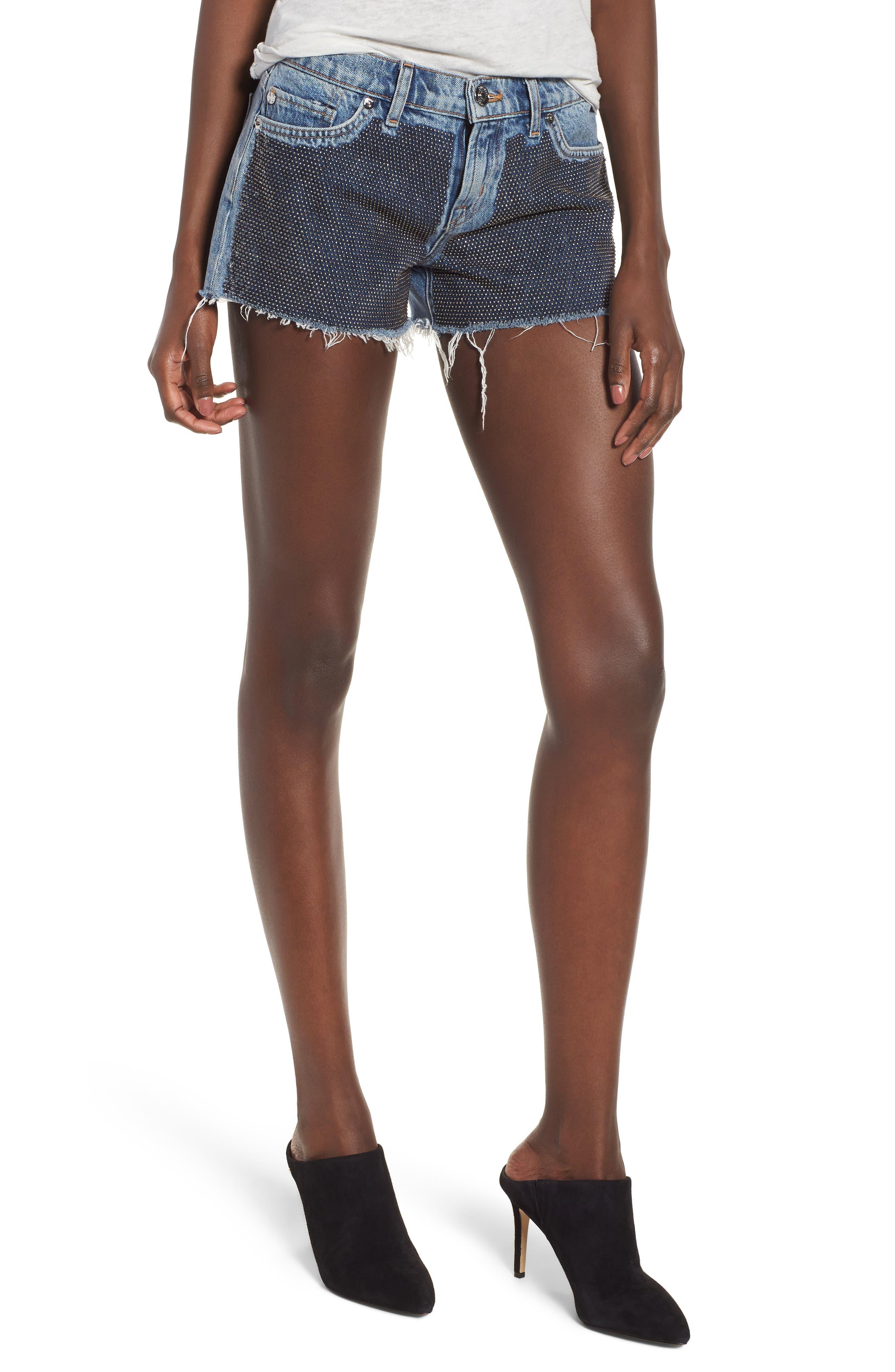 Kenzie Studded Cutoff Denim Shorts,                         Main,                         color, Metal Mark