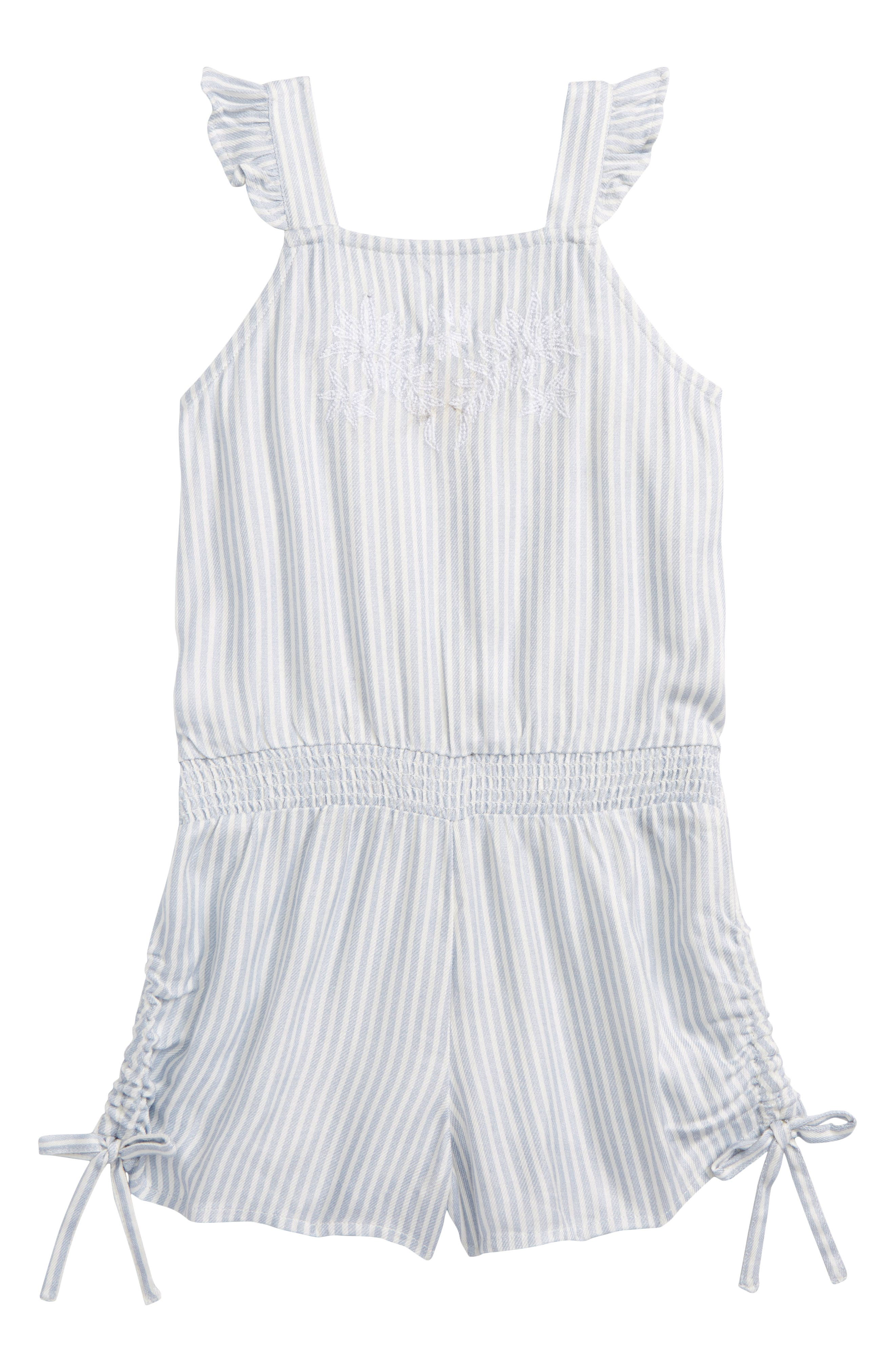 Lemonade Stripe Romper,                             Alternate thumbnail 4, color,                             Bleached Periwinkle